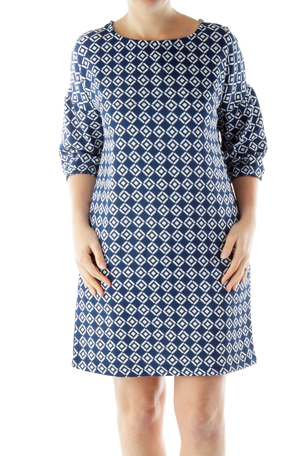 Blue White Geometric Print Day Dress Front