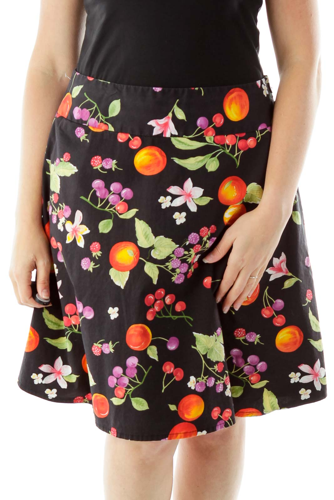 Black Fruit Print Skirt Front