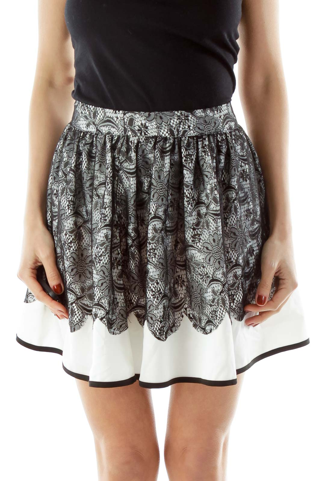 White Black Lace Flared Skirt Front