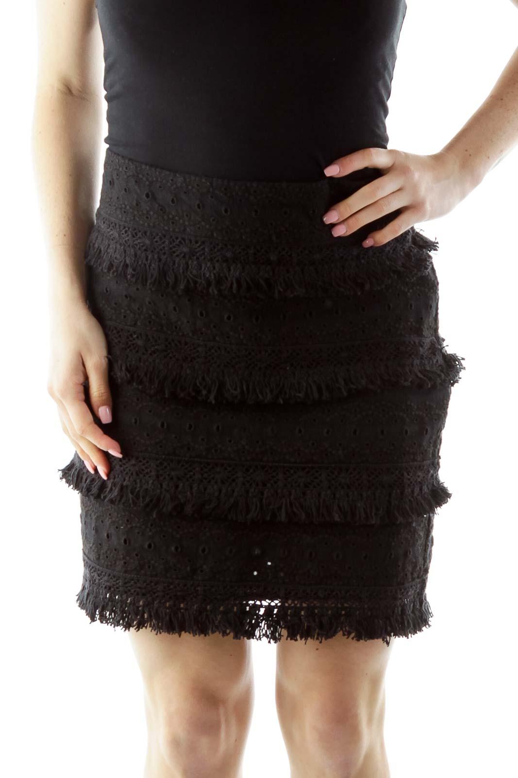 Black Eyelet Mini Skirt Front