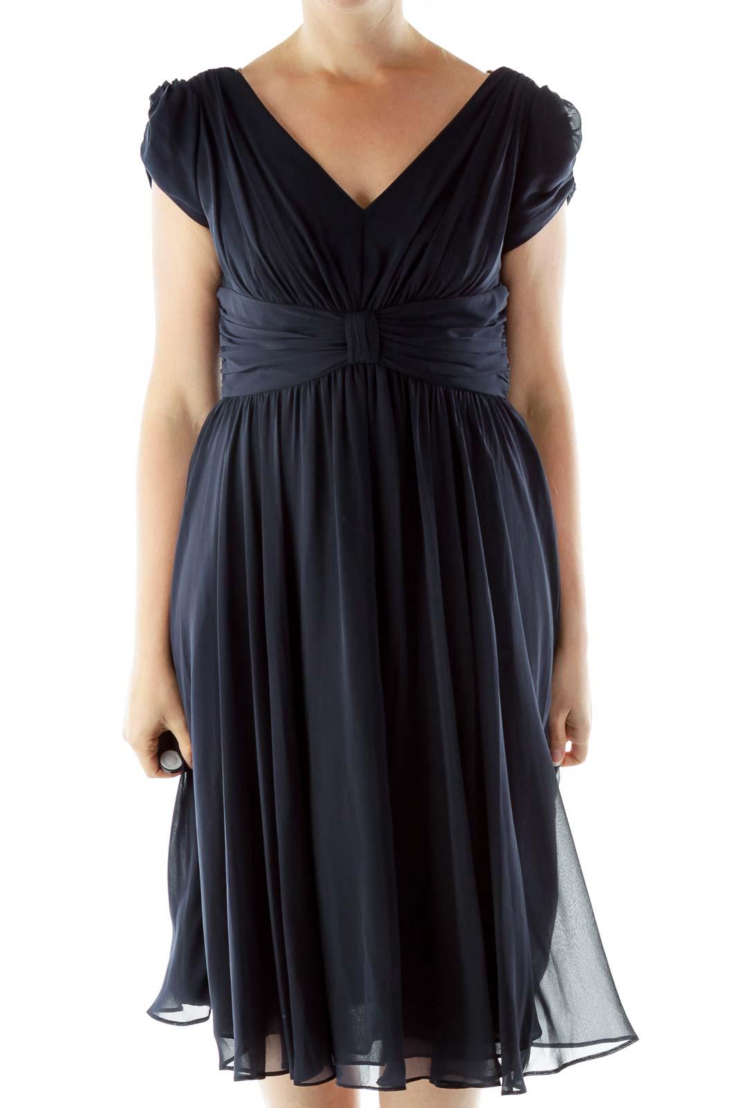 Navy Off-Shoulder Evening Dress Front