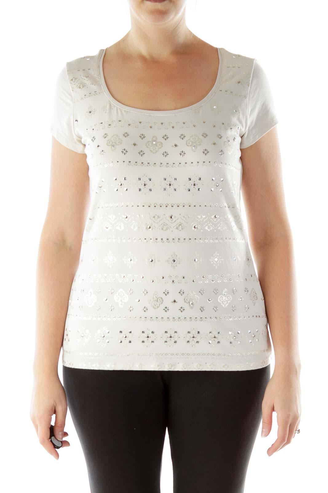 Beige Metallic Print T-Shirt Front