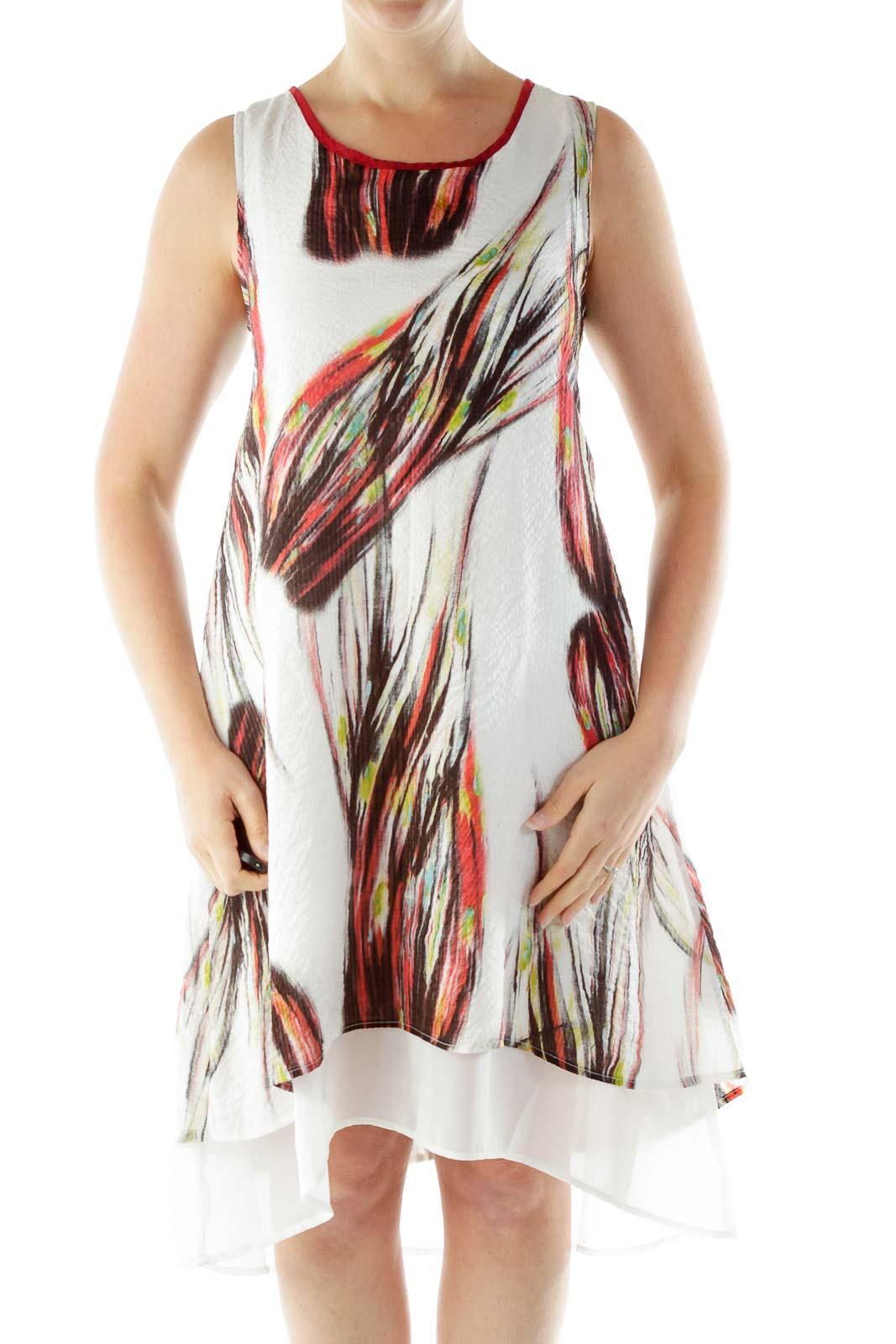 White Round Neck Sleeveless Dress Front