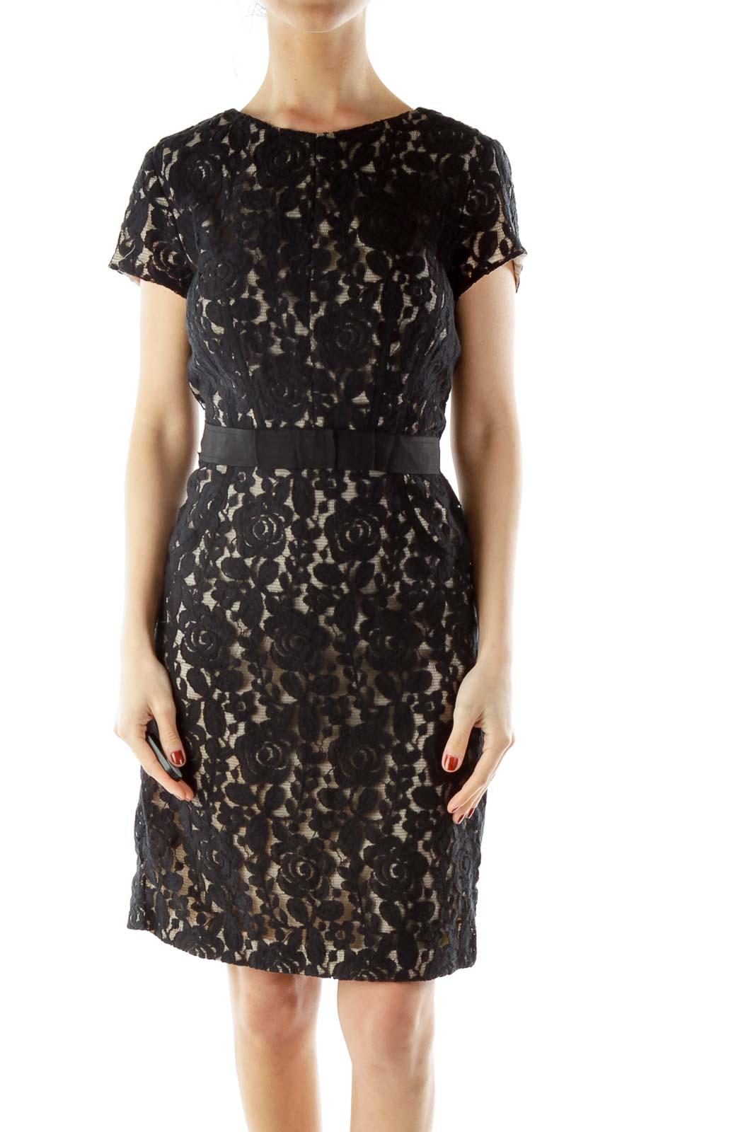 Black Beige Cocktail Dress Front