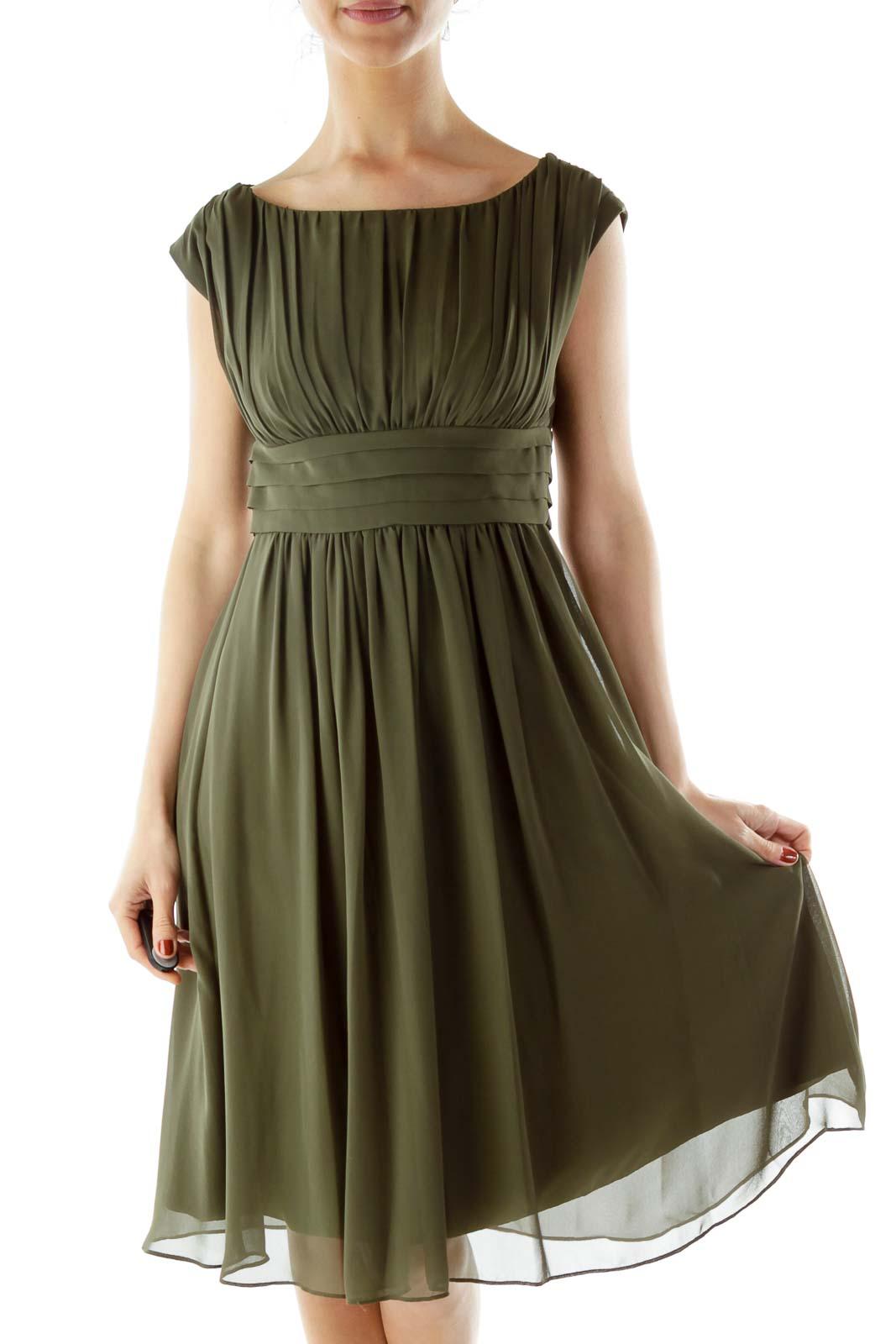 Green Boatneck Empire Waist Dress Front