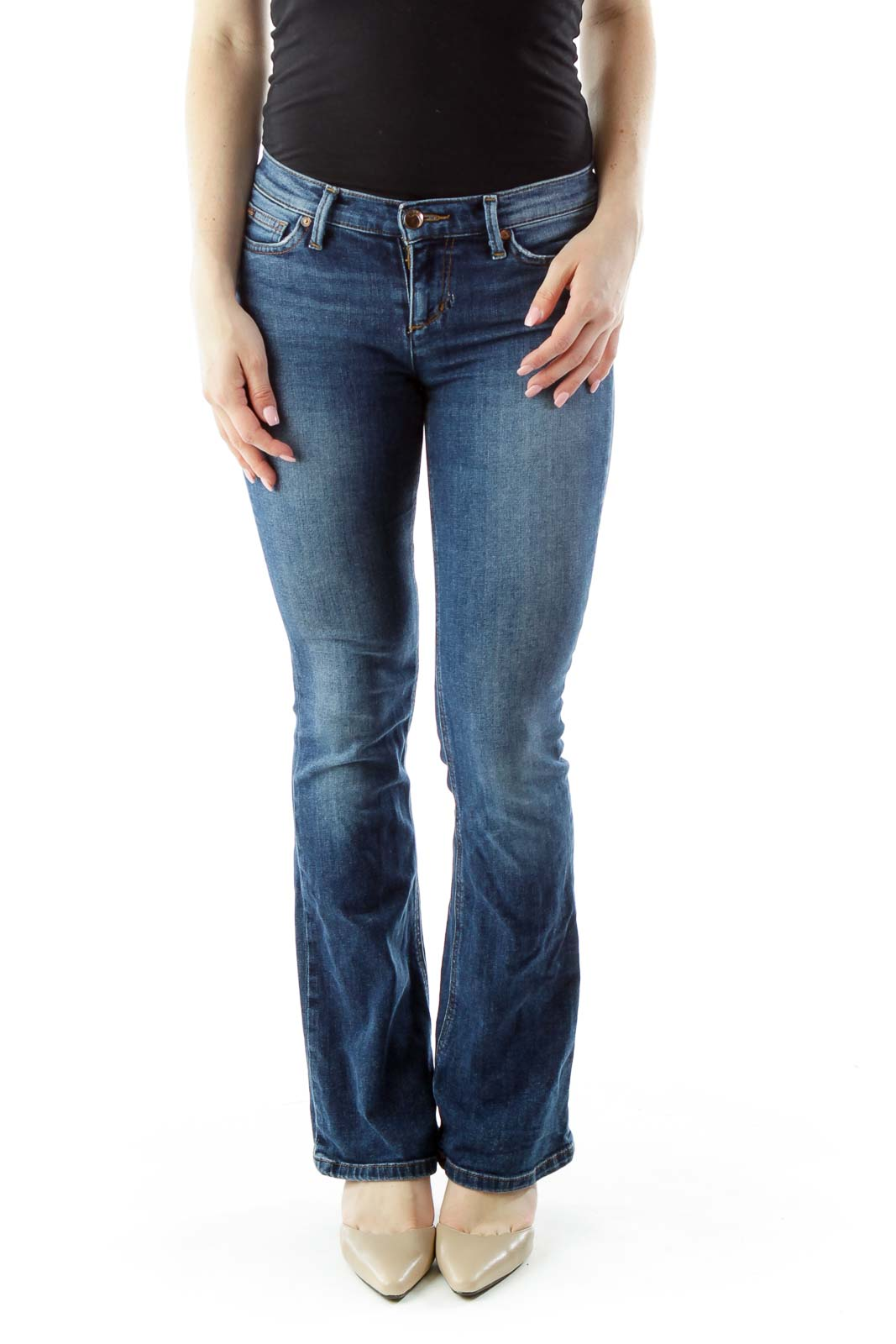 Blue Flared High-Waisted Jeans Front