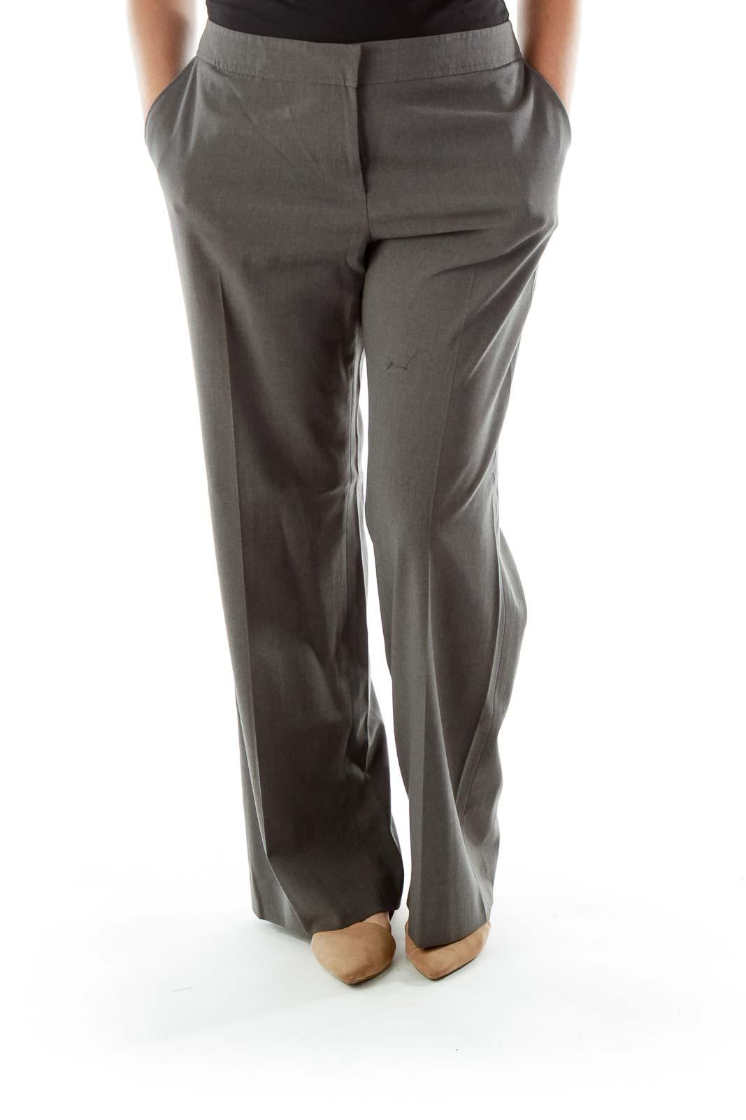 Gray Wide-Leg Slacks Front