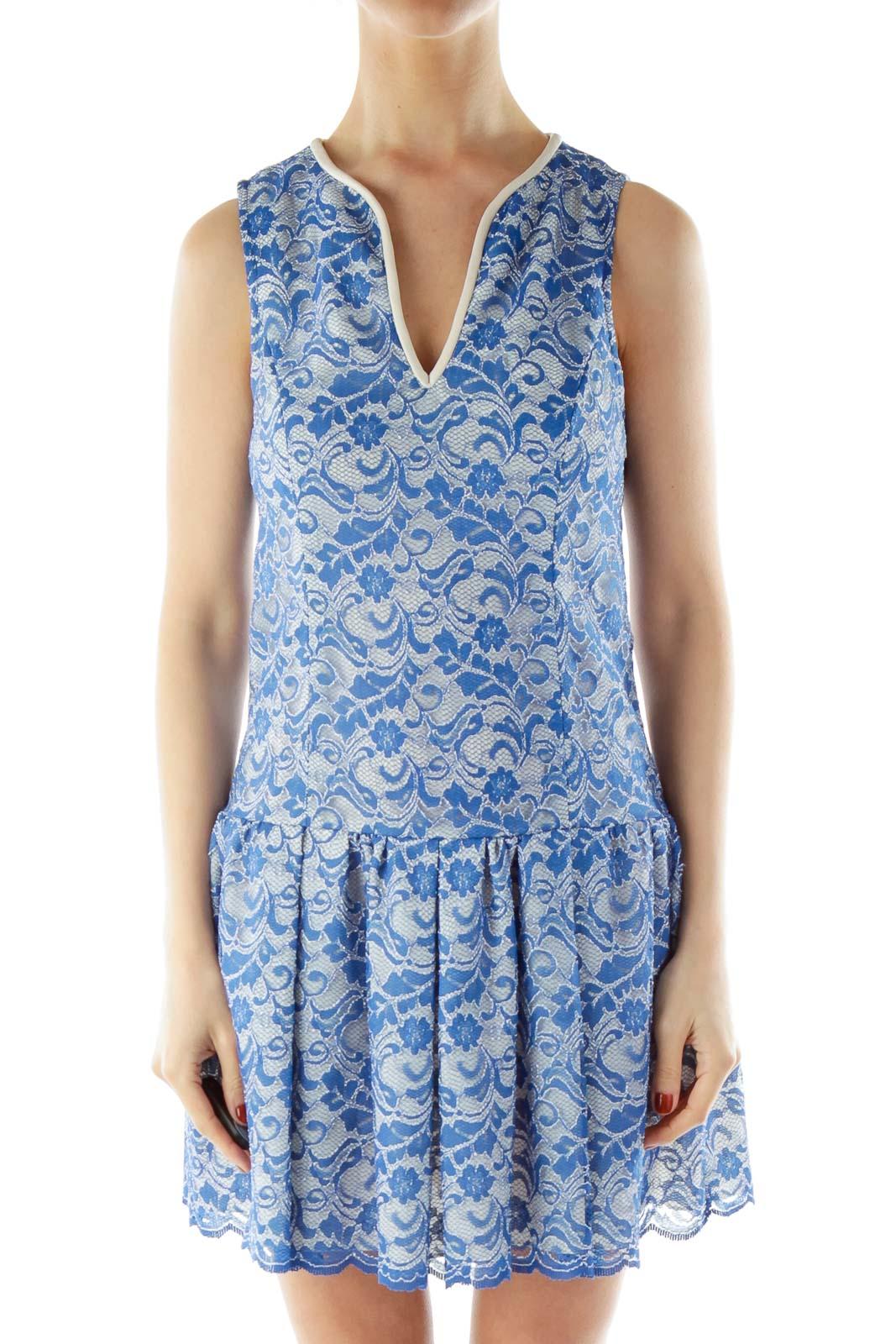 Blue Lace Sleeveless V-Neck Day Dress Front