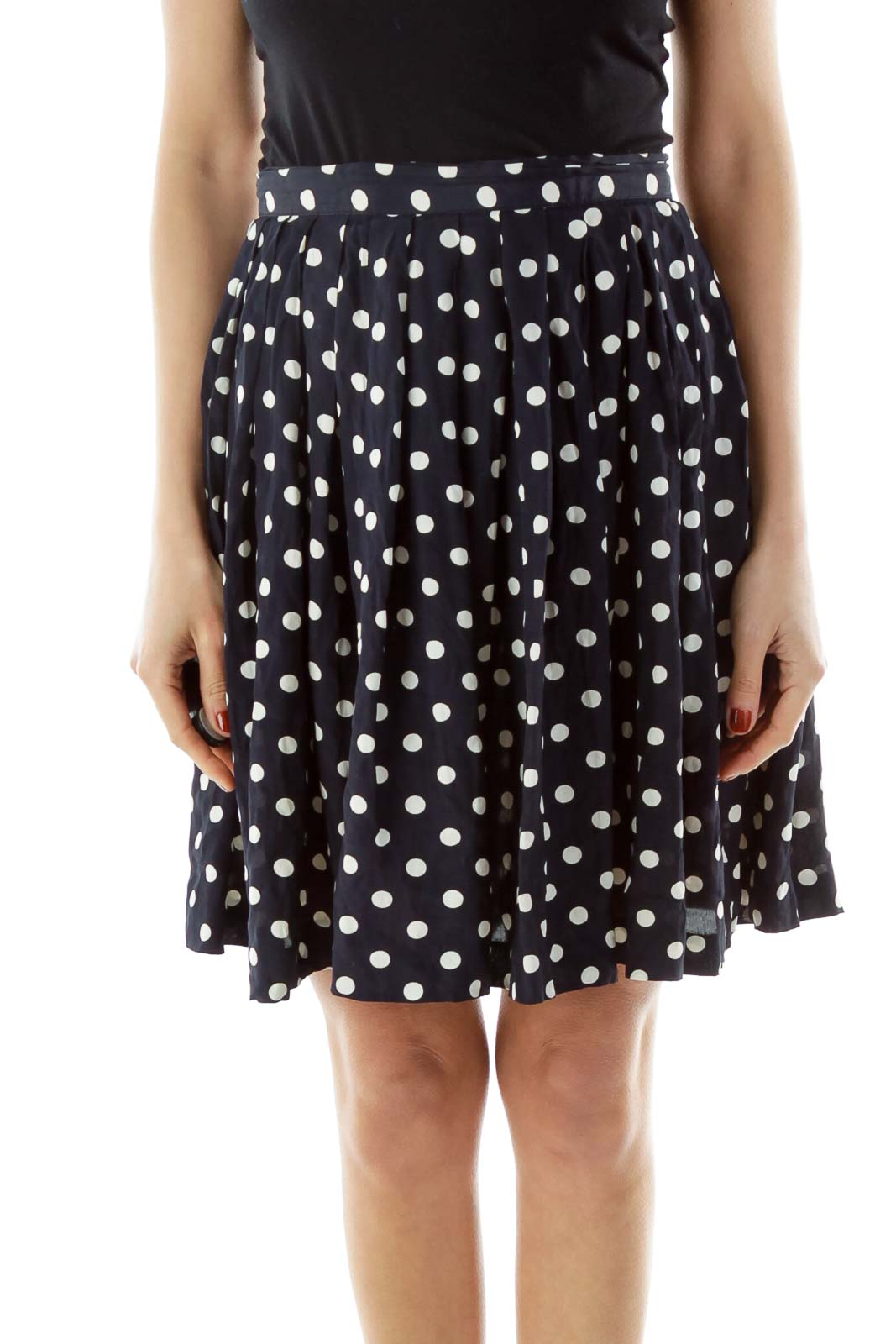Blue Polka-Dot Flared Skirt Front