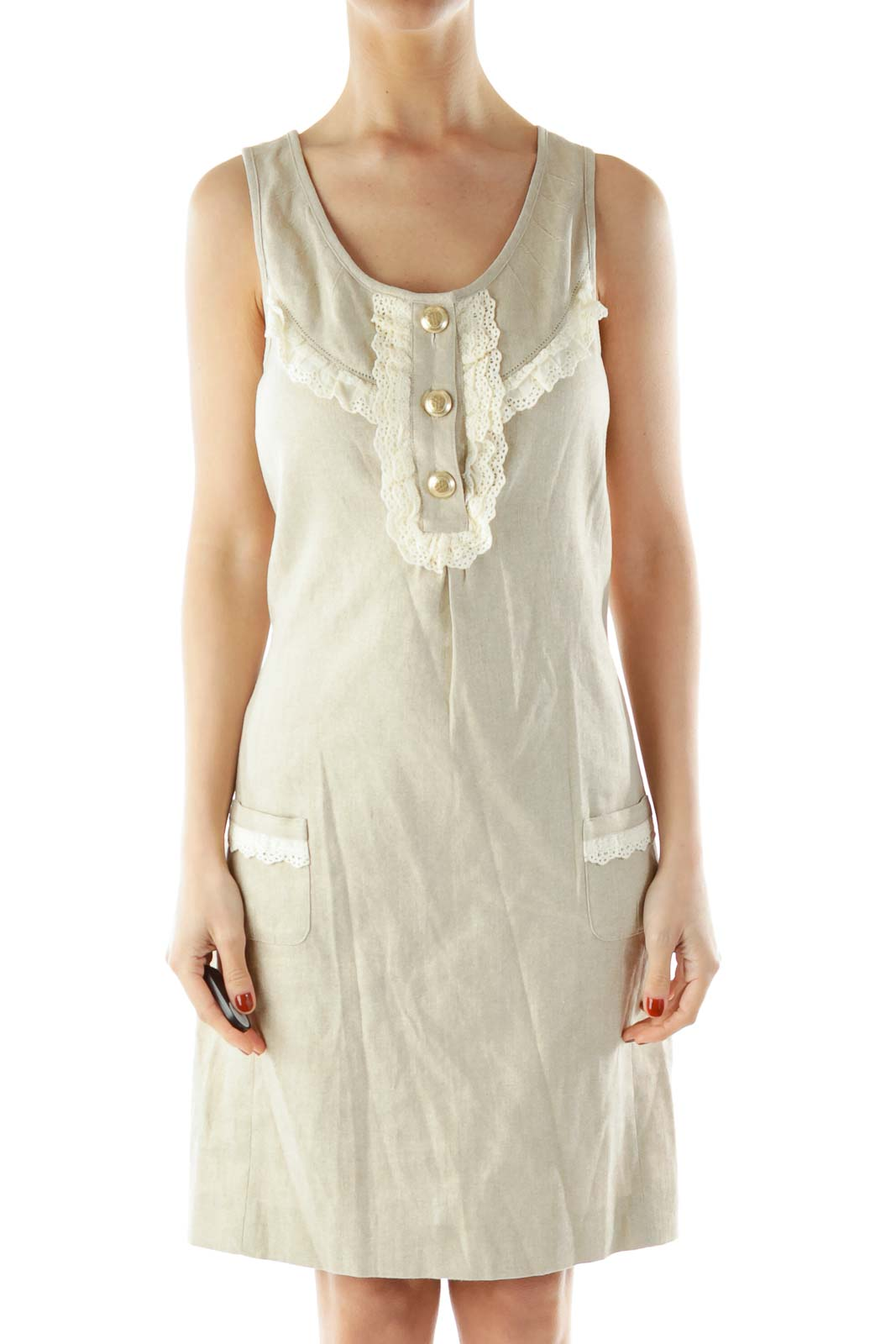 Beige Buttoned Pocketed Sleeveless Day Dress Front