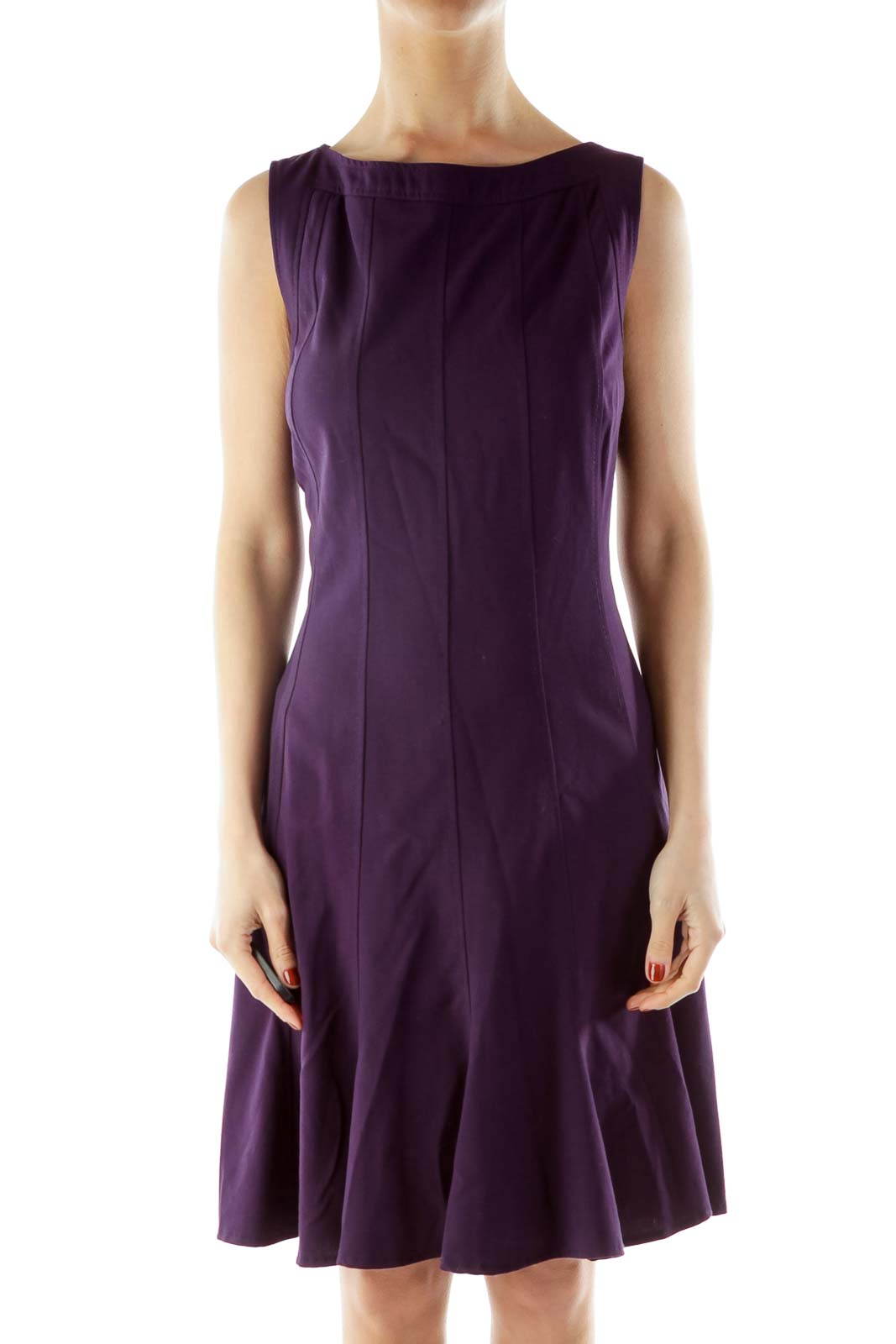 Purple Sleeveless Work Dress Front