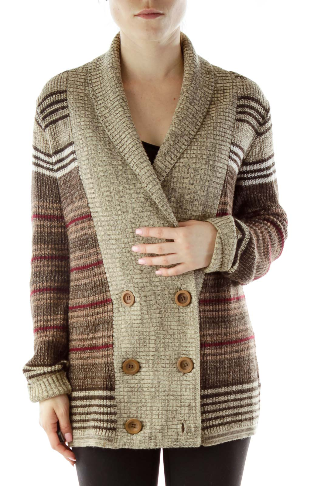 Brown Buttoned Cardigan Front