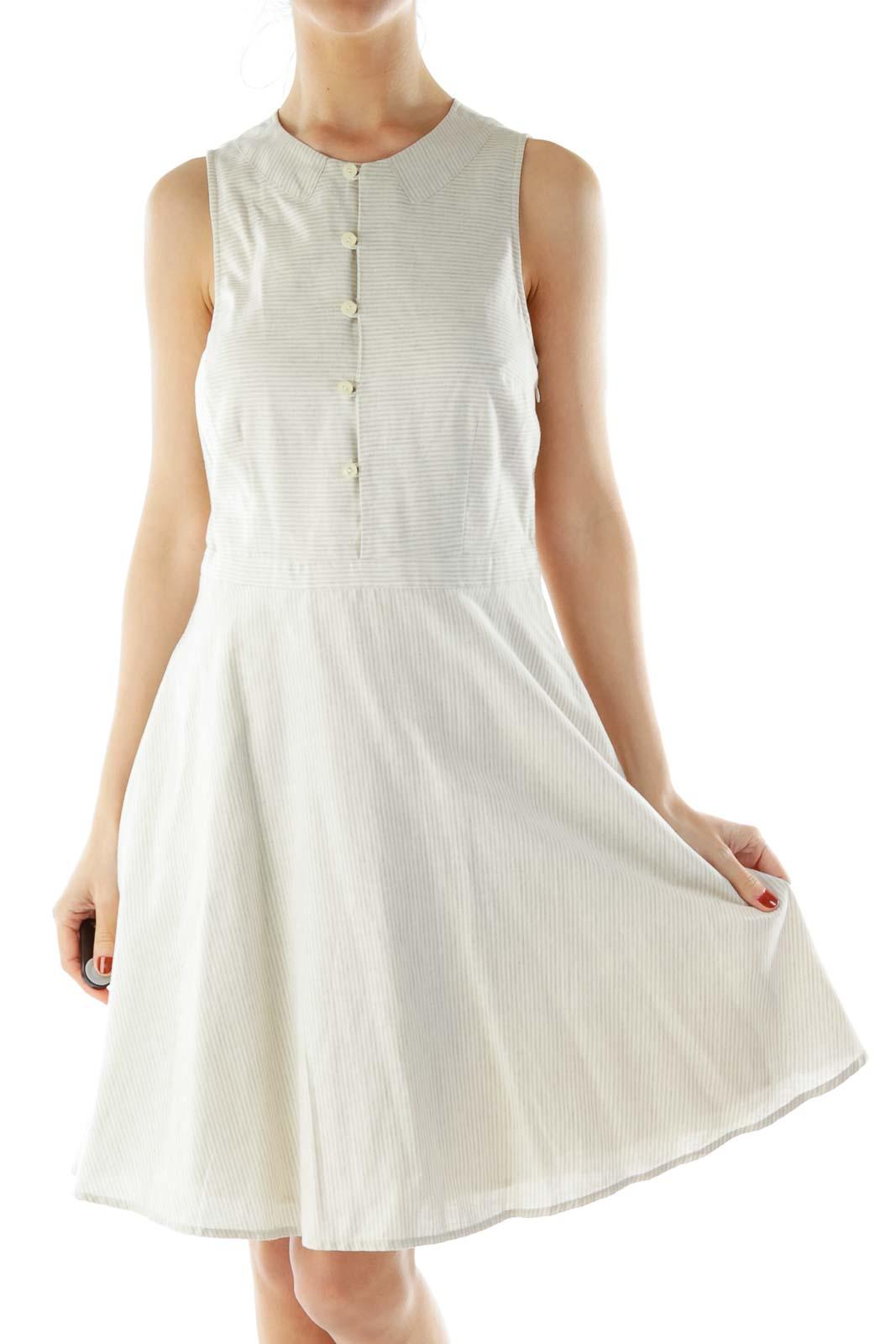 Gray Beige Pinstripe Day Dress Front