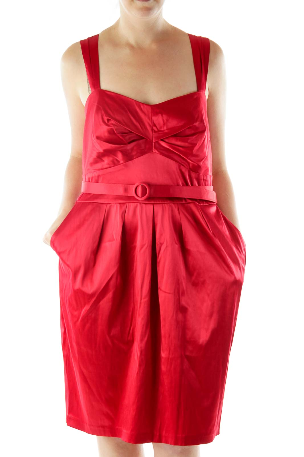 Red Satin Cocktail Dress Front