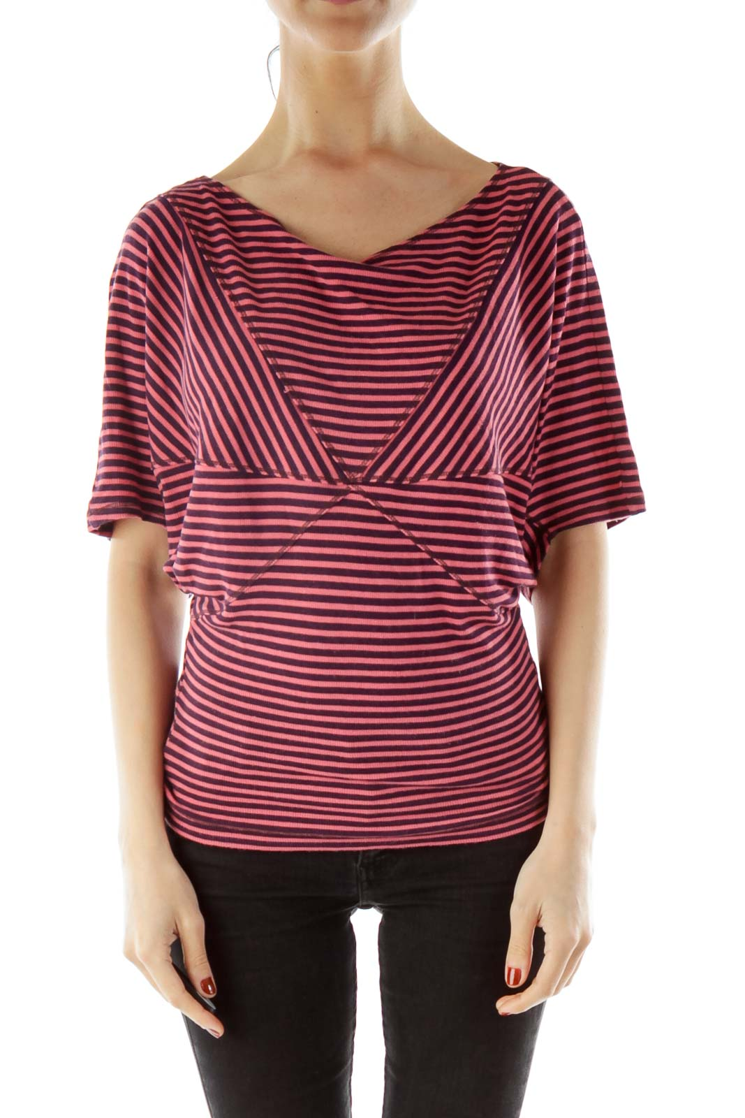 Pink Purple Striped Blouse Front
