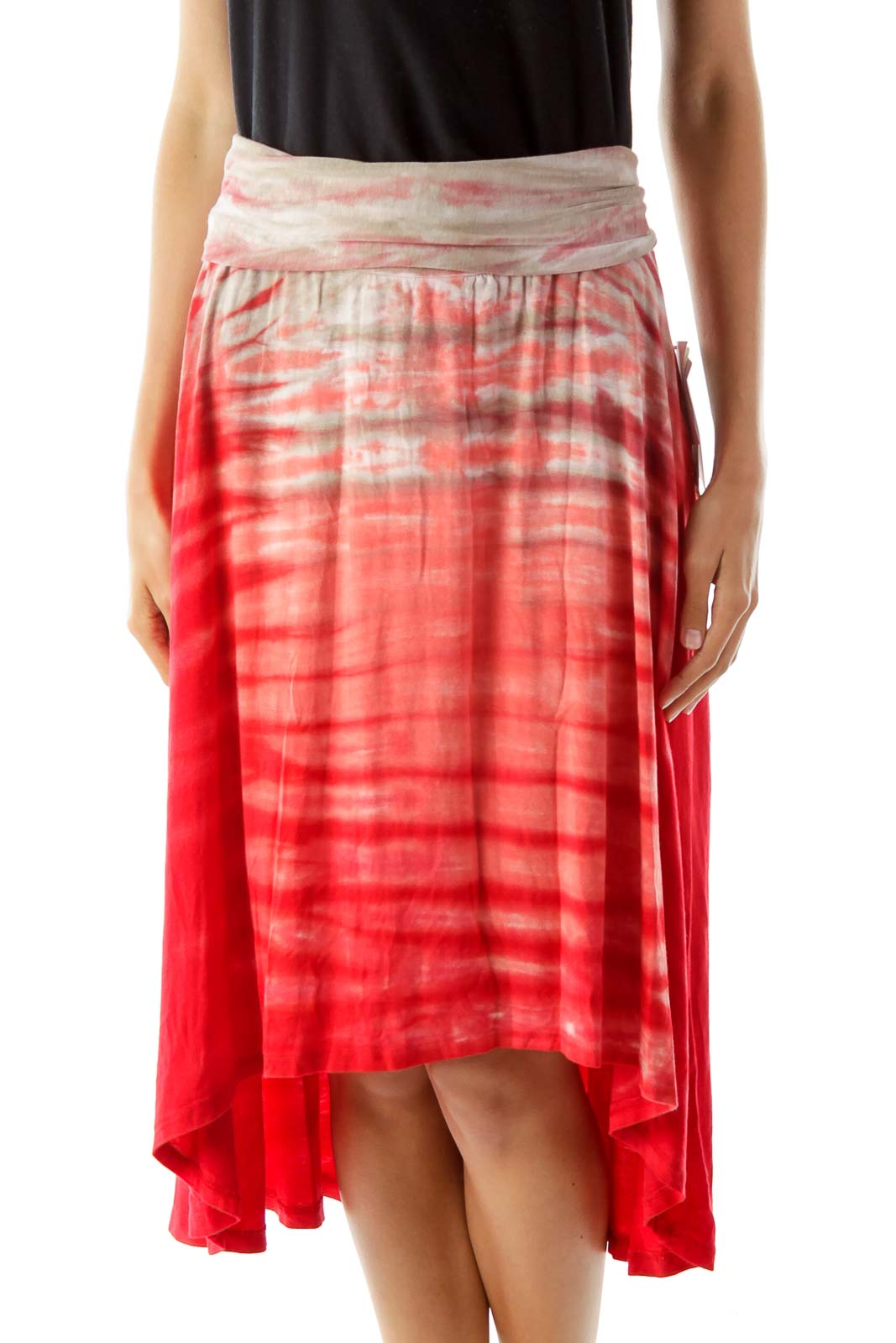 Red Tie Dye Flared Skirt Front