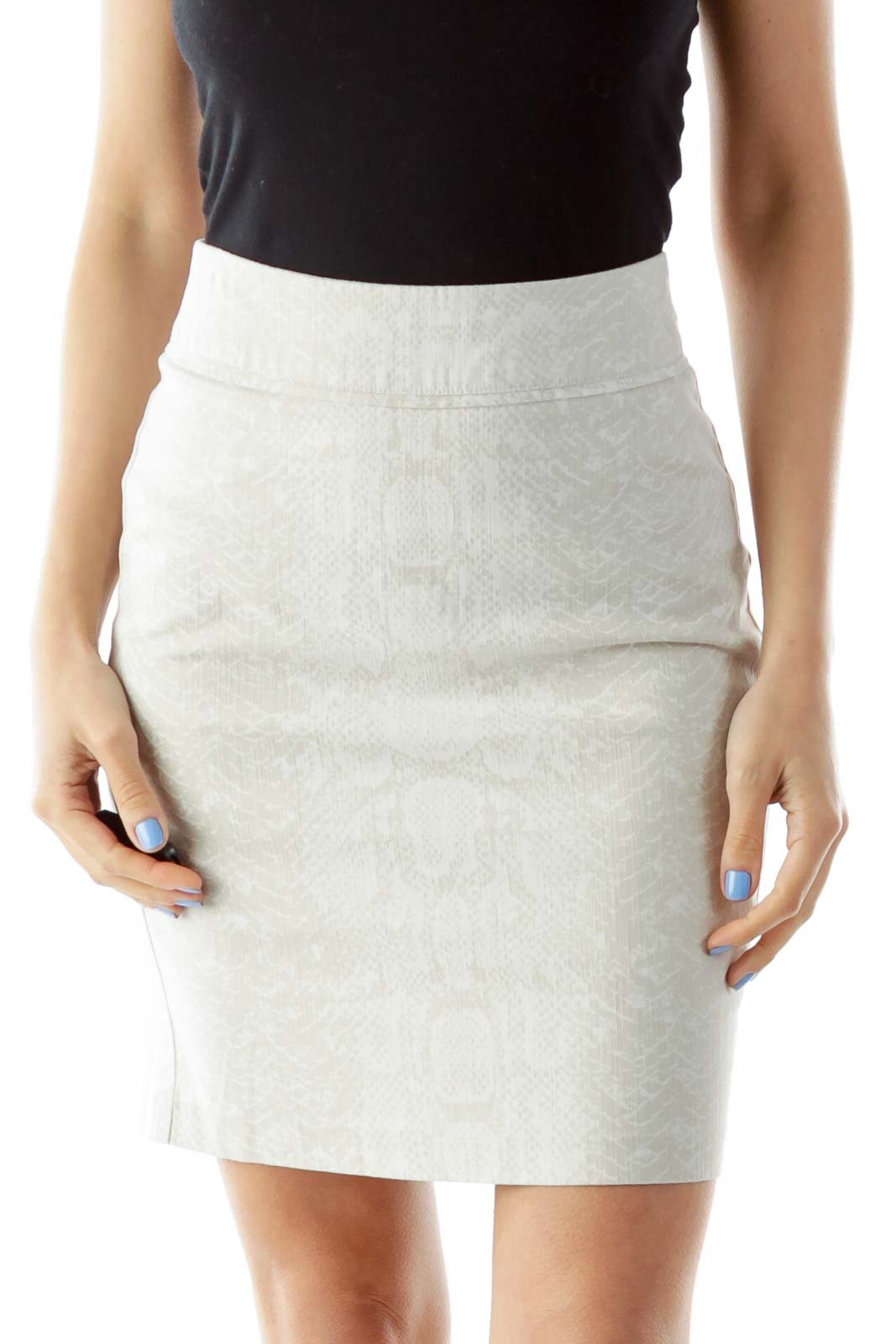 Cream Snake Skin Pencil Skirt Front
