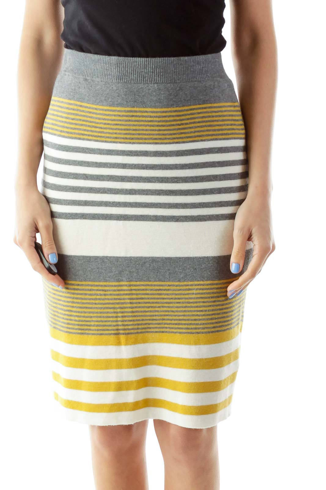 Yellow Gray Knit Pencil Skirt Front