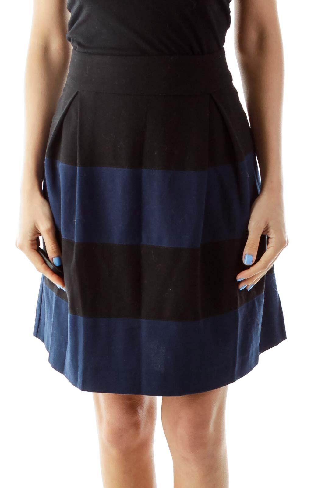 Black Blue Flared Striped Skirt Front
