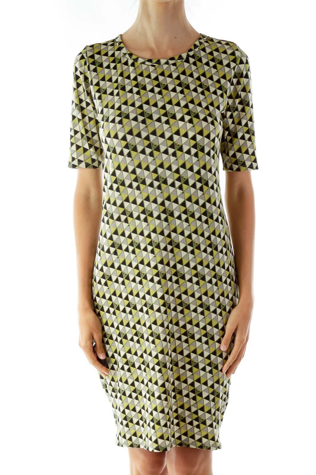 Black and Green Print T-Shirt Dress Front