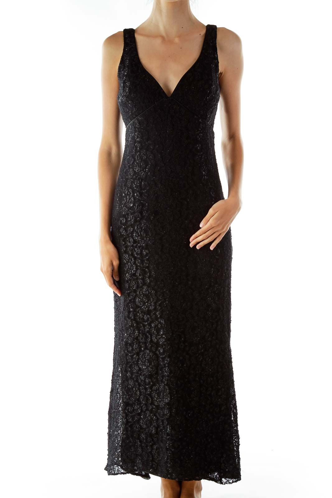 Black Lace Shimmer V-neck Sleeveless Evening Dress Front
