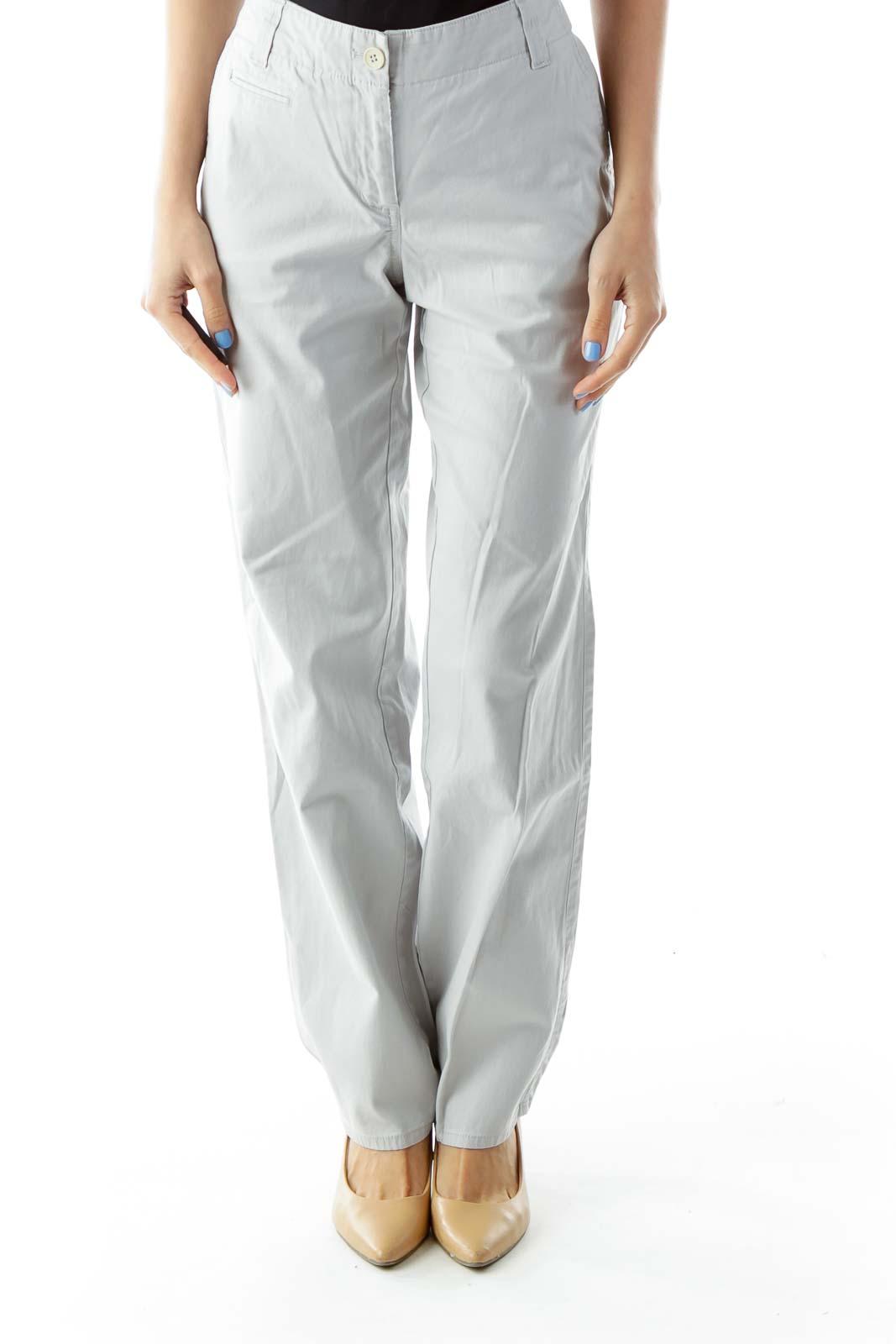 Gray Denim Boyfriend Jeans Front