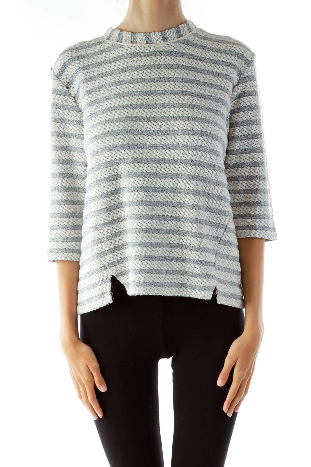 White Gray Striped Sweater Front
