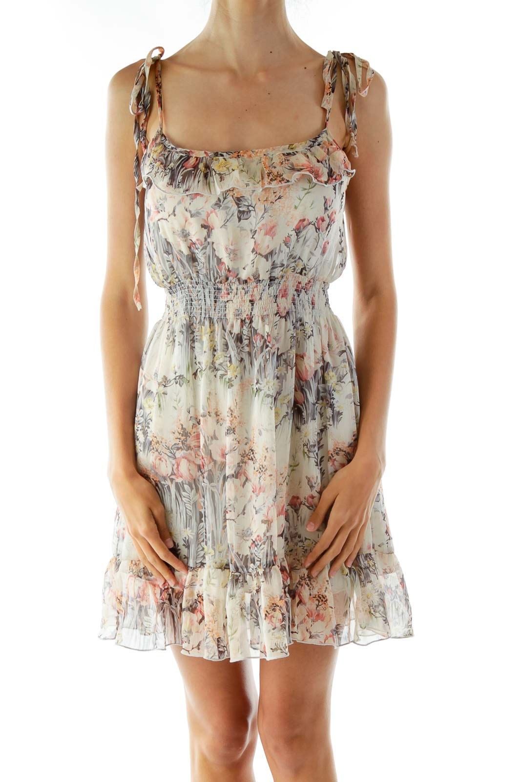 Beige Flower Print Sleeveless Day Dress Front