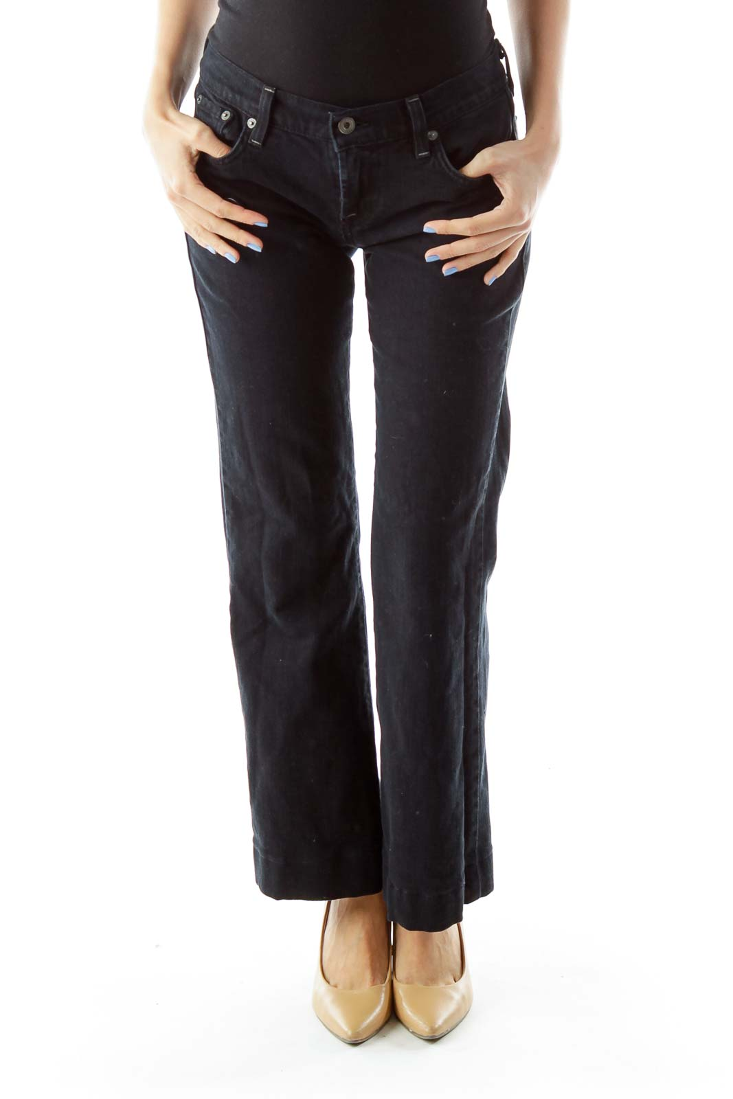 Navy Straight-Leg Jeans Front