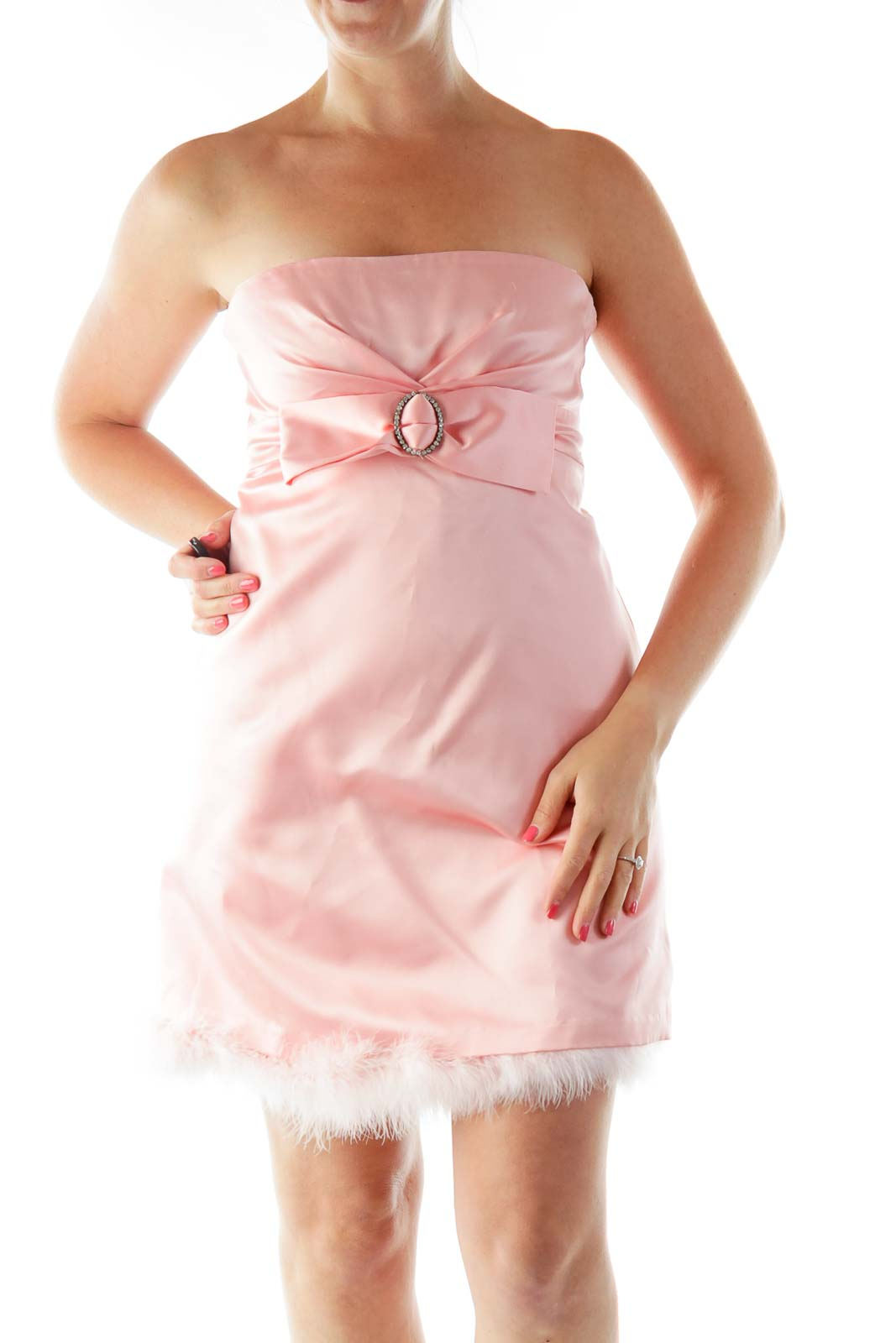 Pink Strapless Cocktail Dress Front