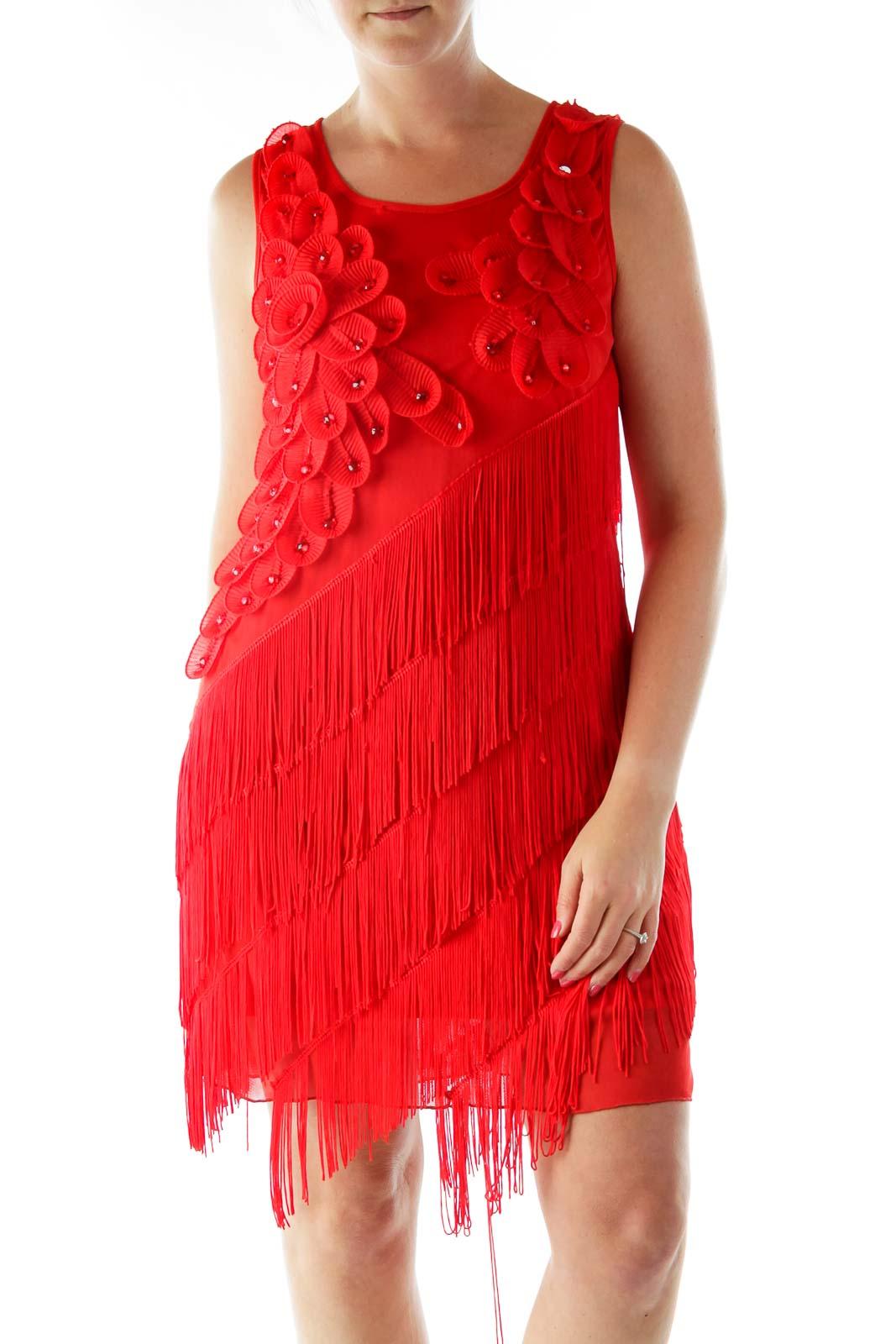 Red Floral Applique Fringe Shift Cocktail Dress Front