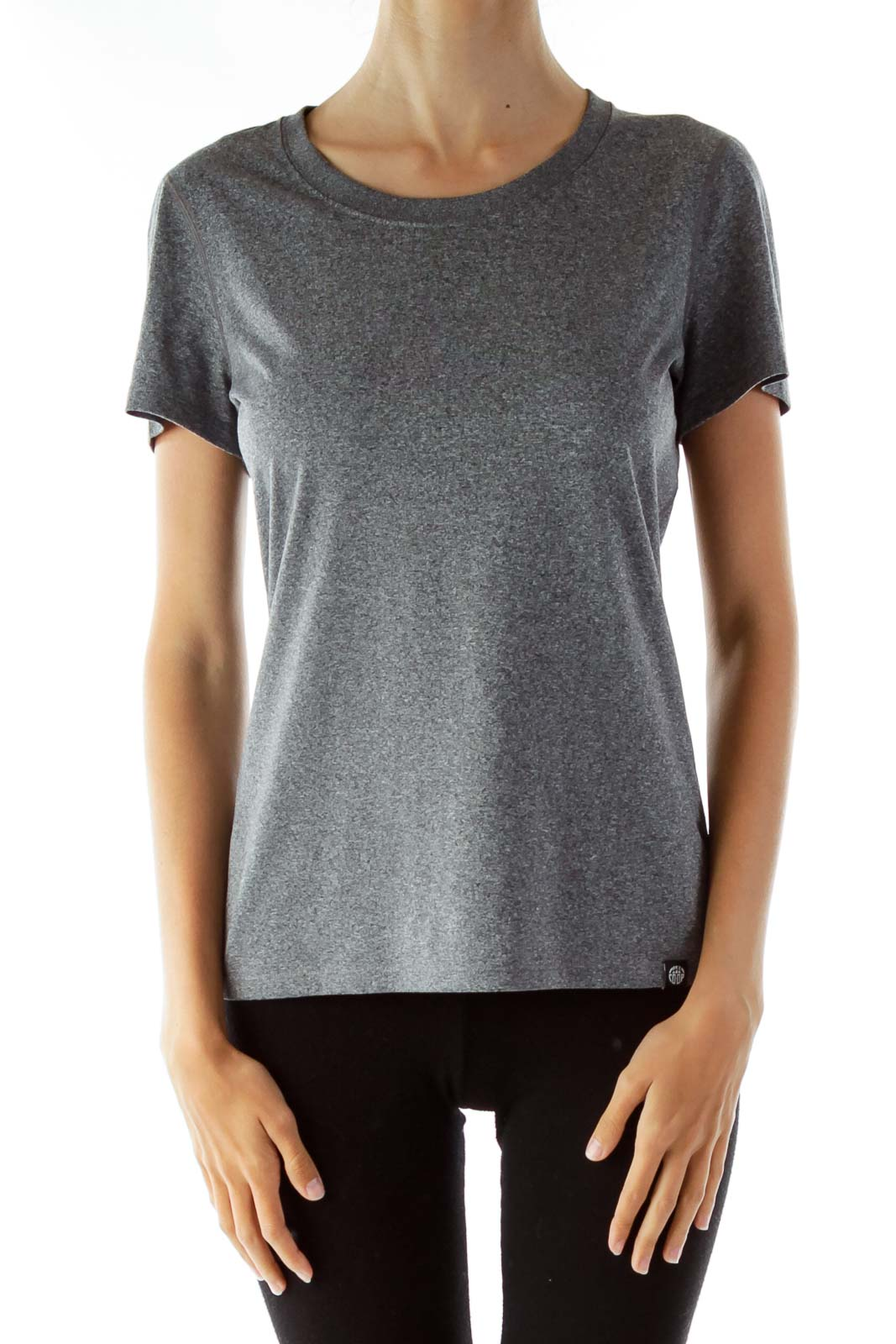 Gray Round Neck T-Shirt Front