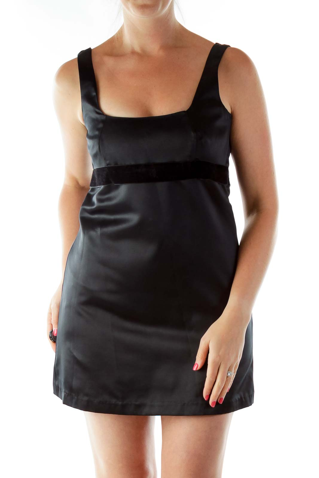 Black Belted Sleeveless Cocktail Dress Front