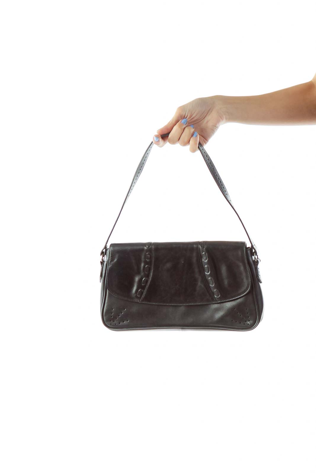 Black Stitched Shoulder Bag Front