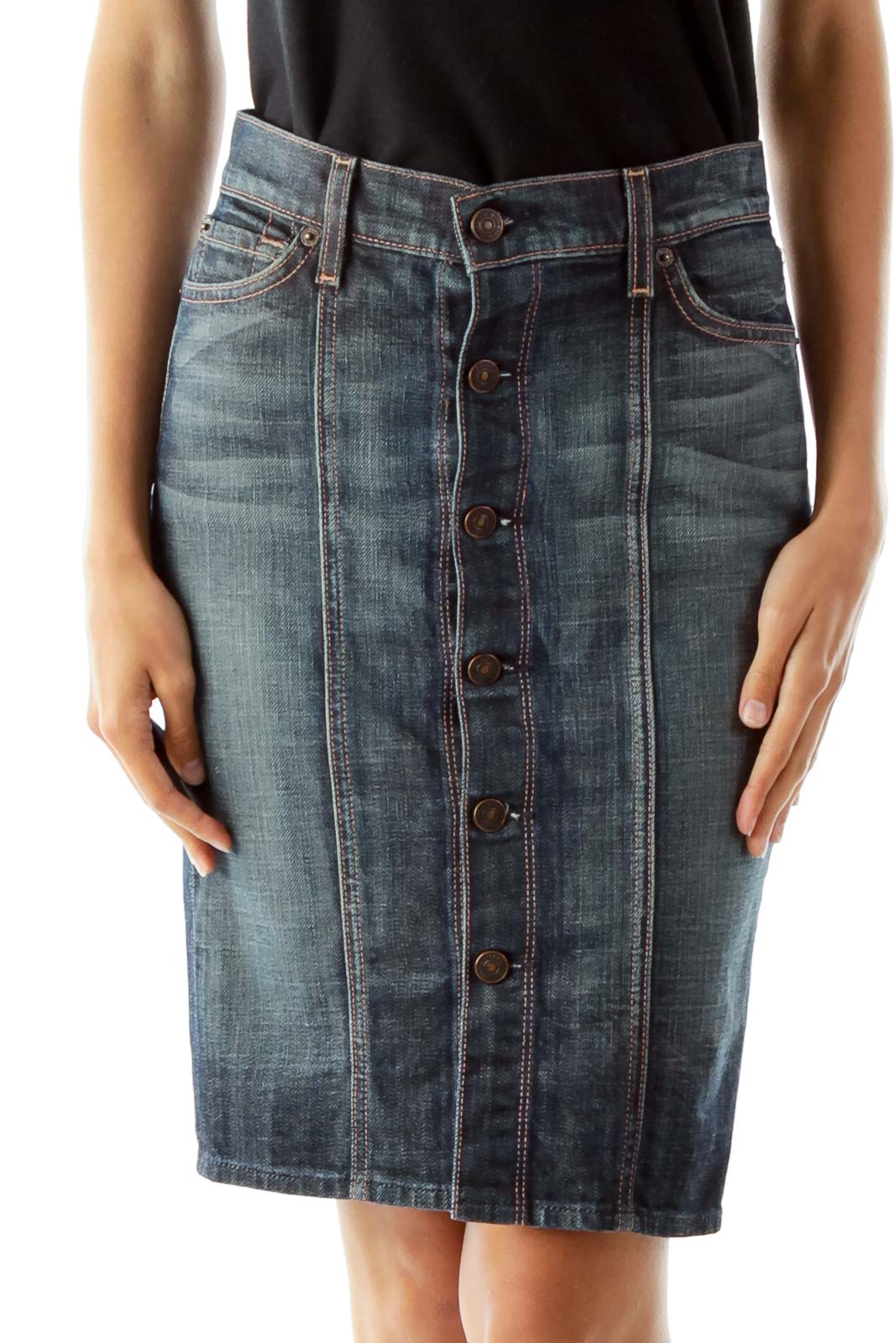 Blue Buttoned Denim Skirt Front