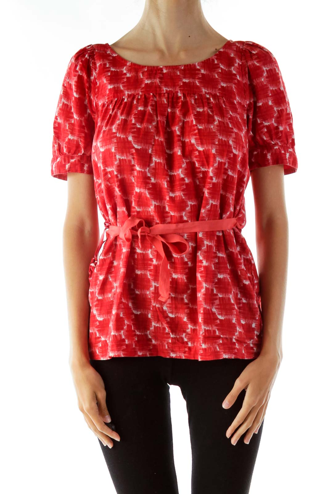 Red White Printed Blouse Front