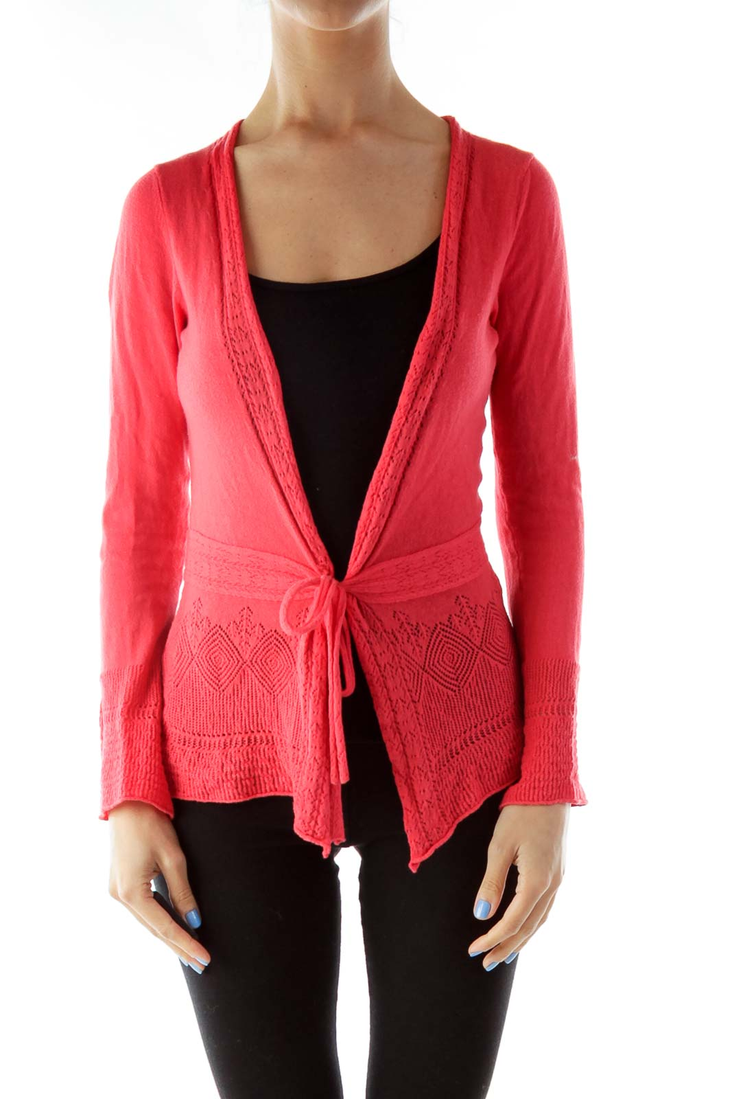 Red Crocheted Wrap Cardigan Front