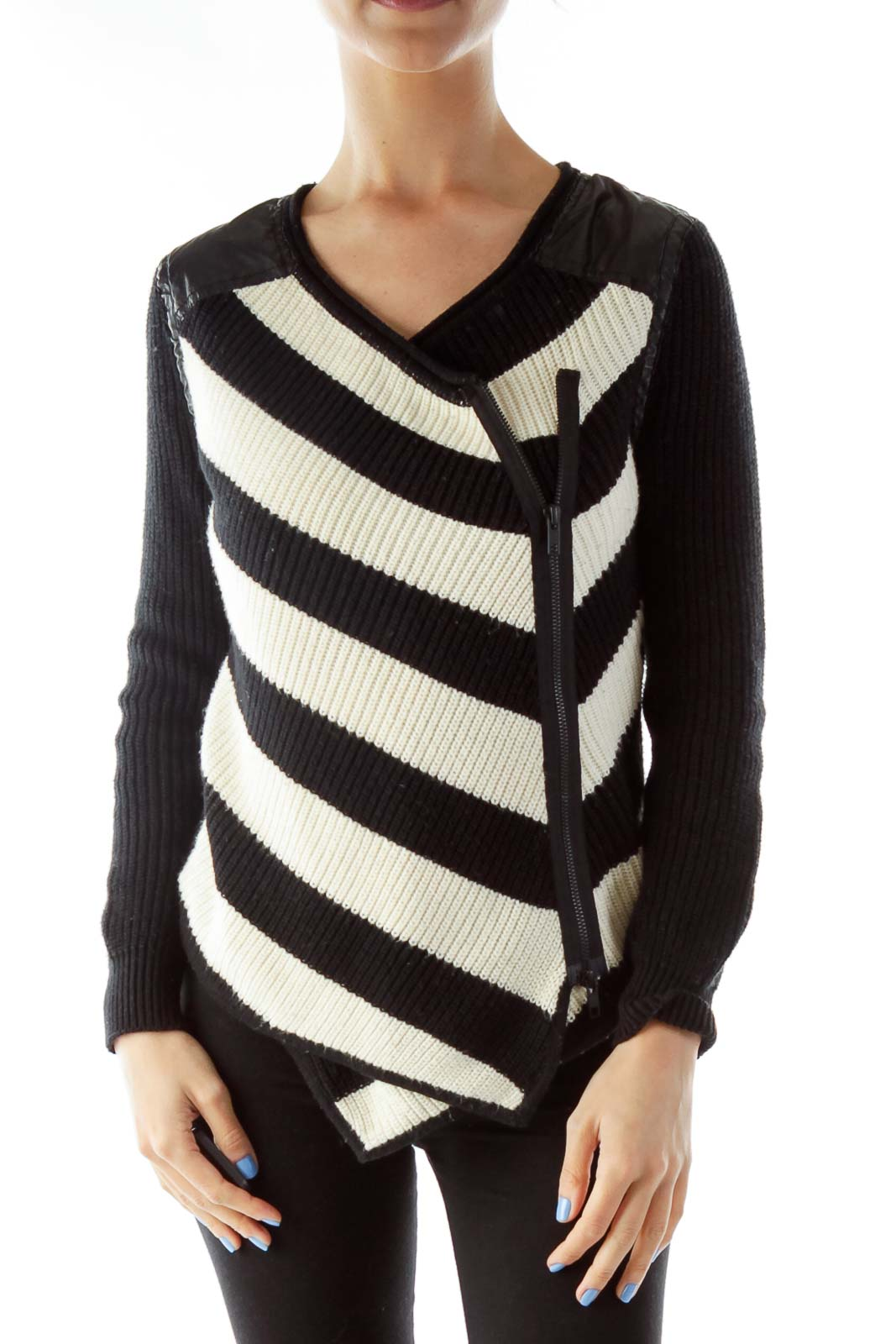 Black Cream Asymmetric Knit Sweater Front
