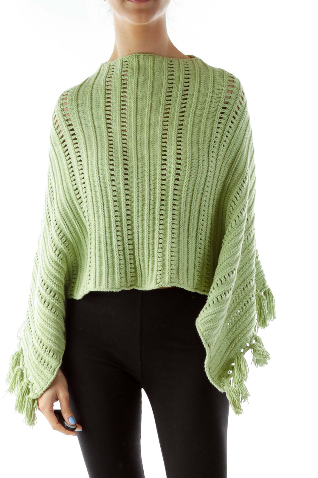 Green Crocheted Poncho w/ Tassels Front