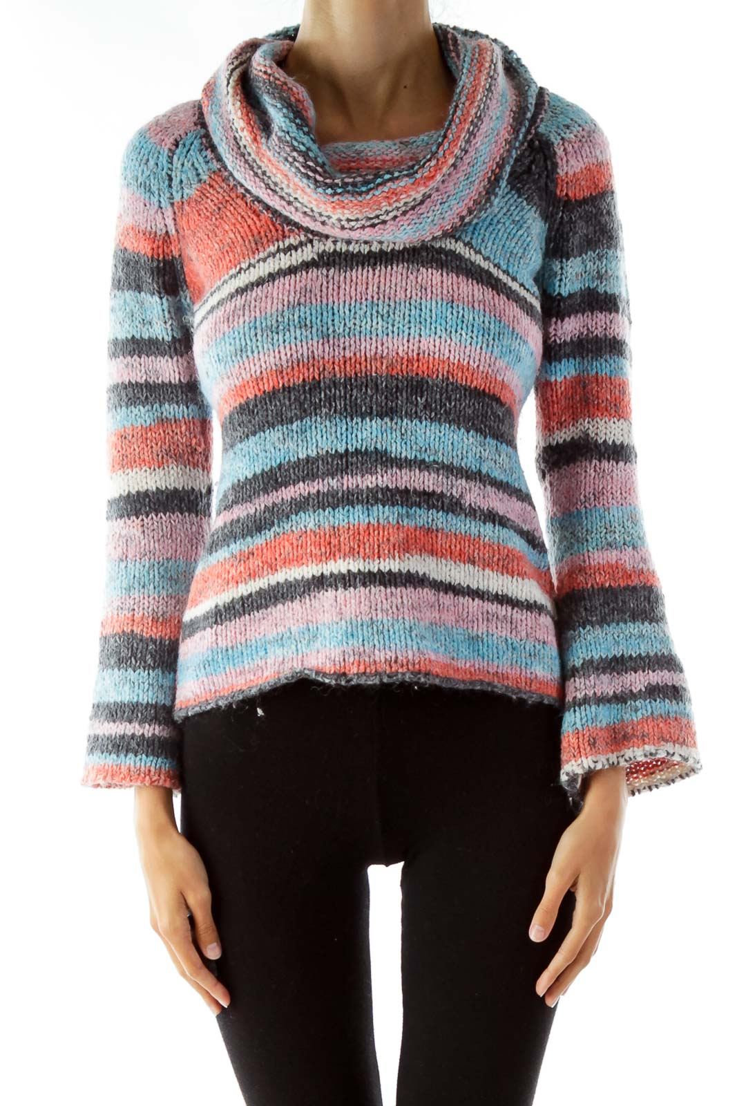 Multicolored Cowl Neck Knit Sweater Front