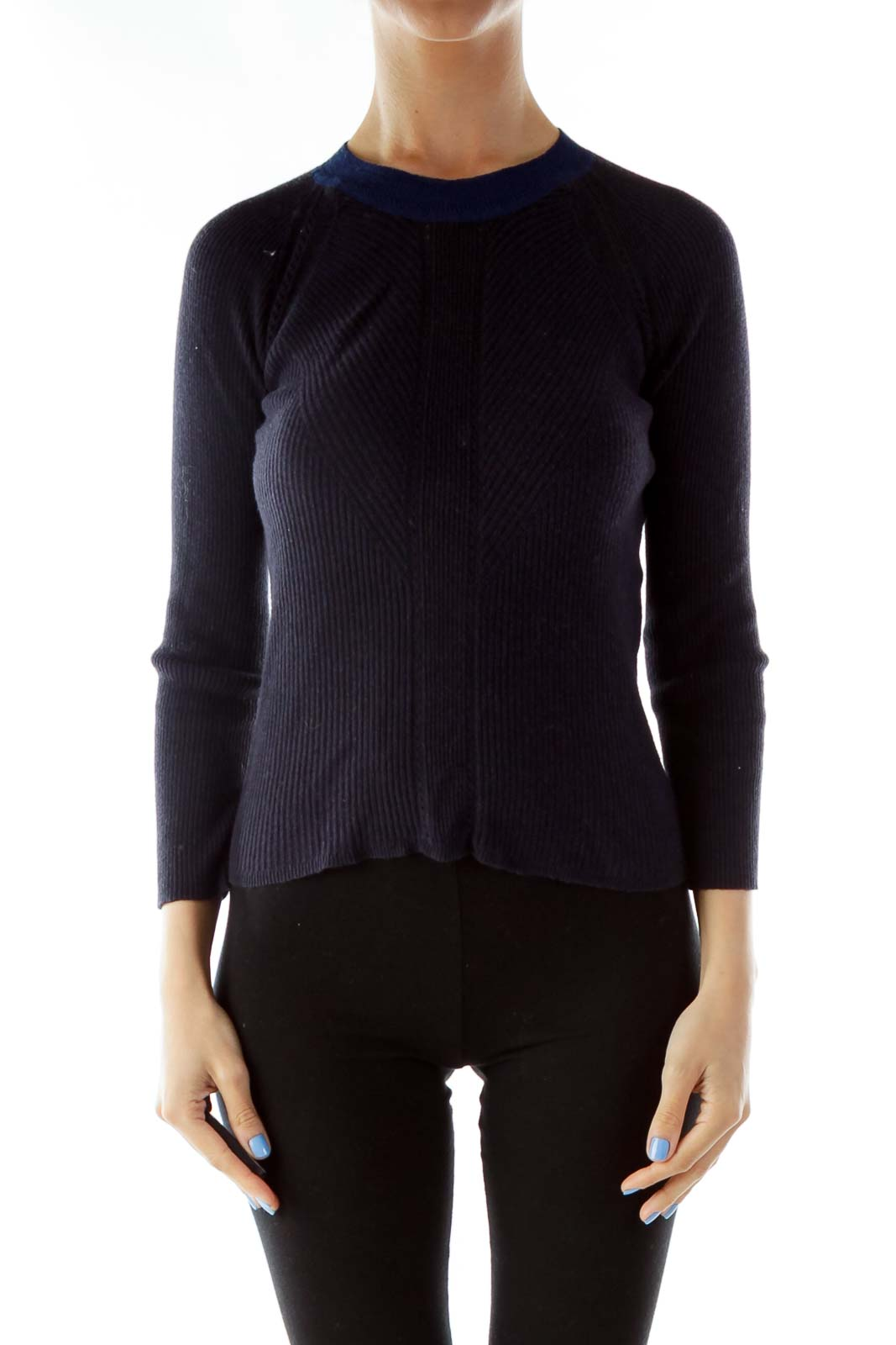 Navy Crew-Neck Knit Sweater Front