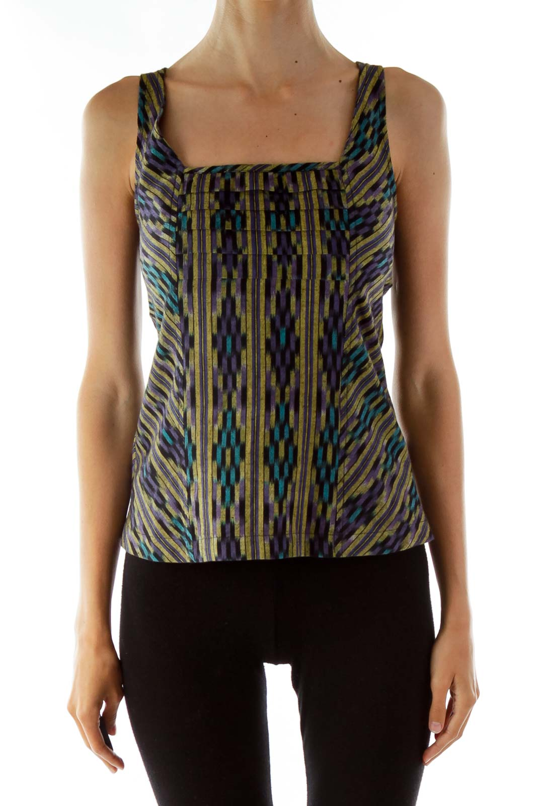 Multi-Color Aztec Print Tank Top Front