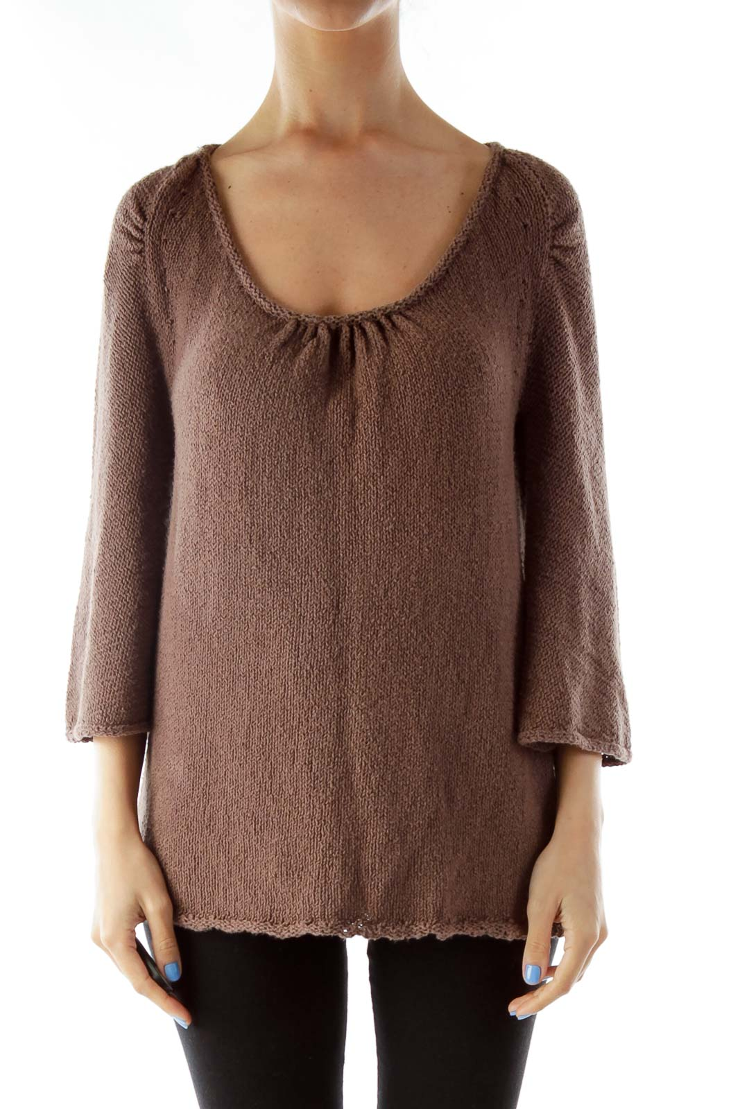 Brown Knit Sweater Front