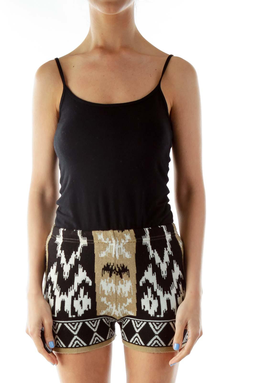 Black Beige High-Waisted Tribal Print Shorts Front