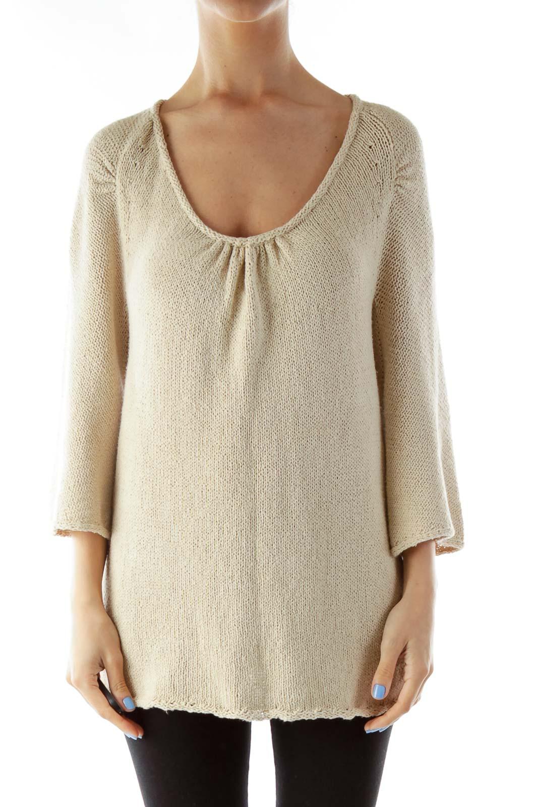 Beige Knit Sweater Front