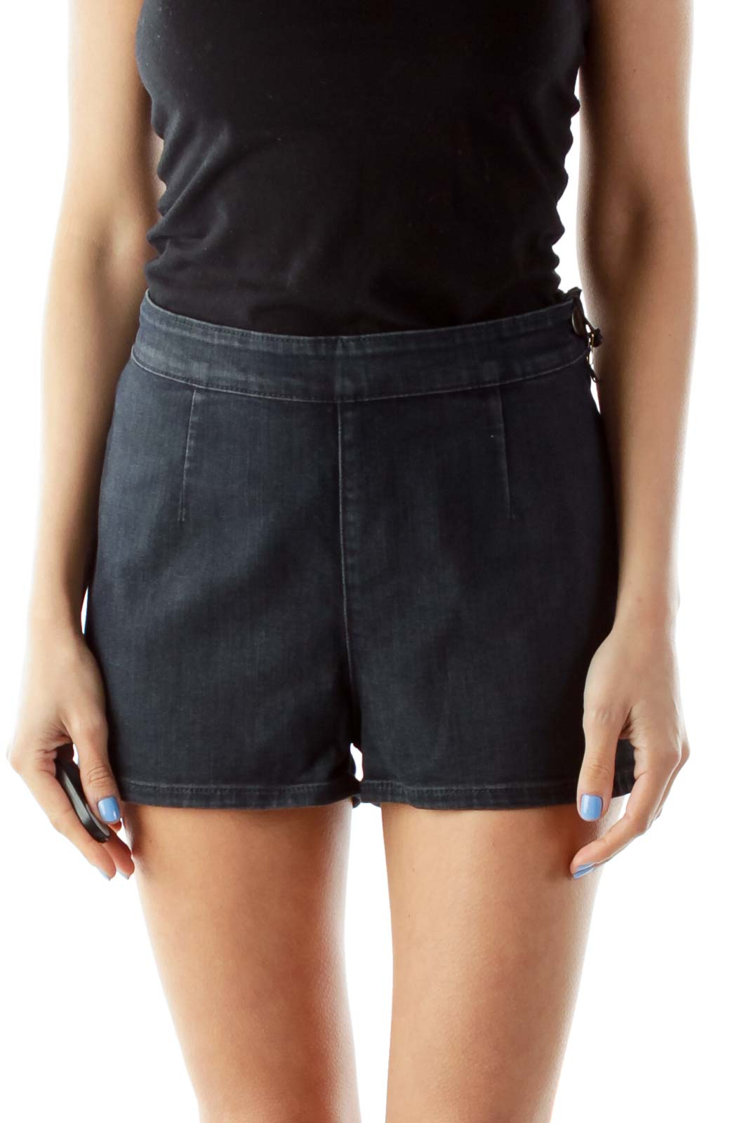 Denim High-Waisted Shorts Front
