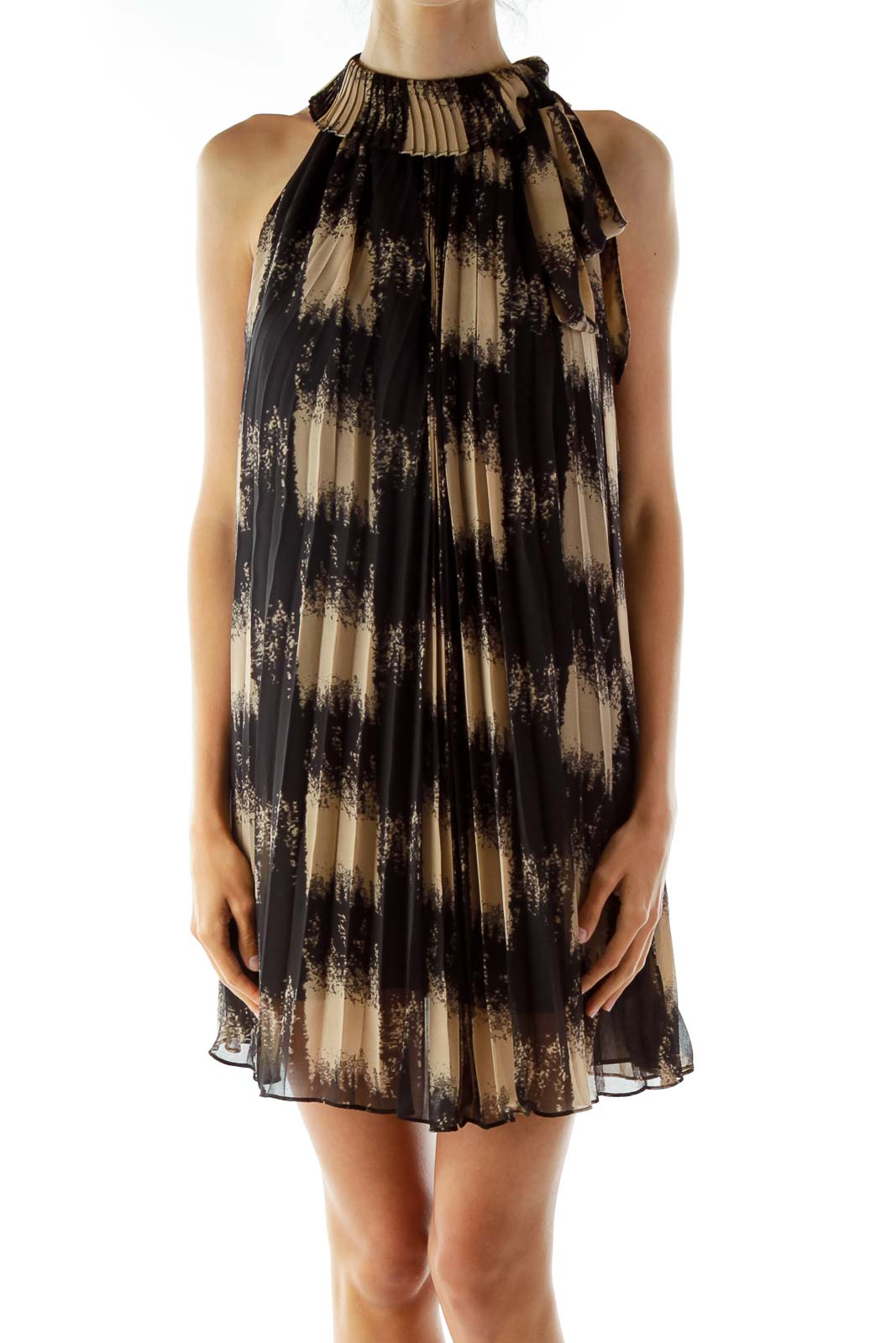 Black Beige Printed Shift Dress Front