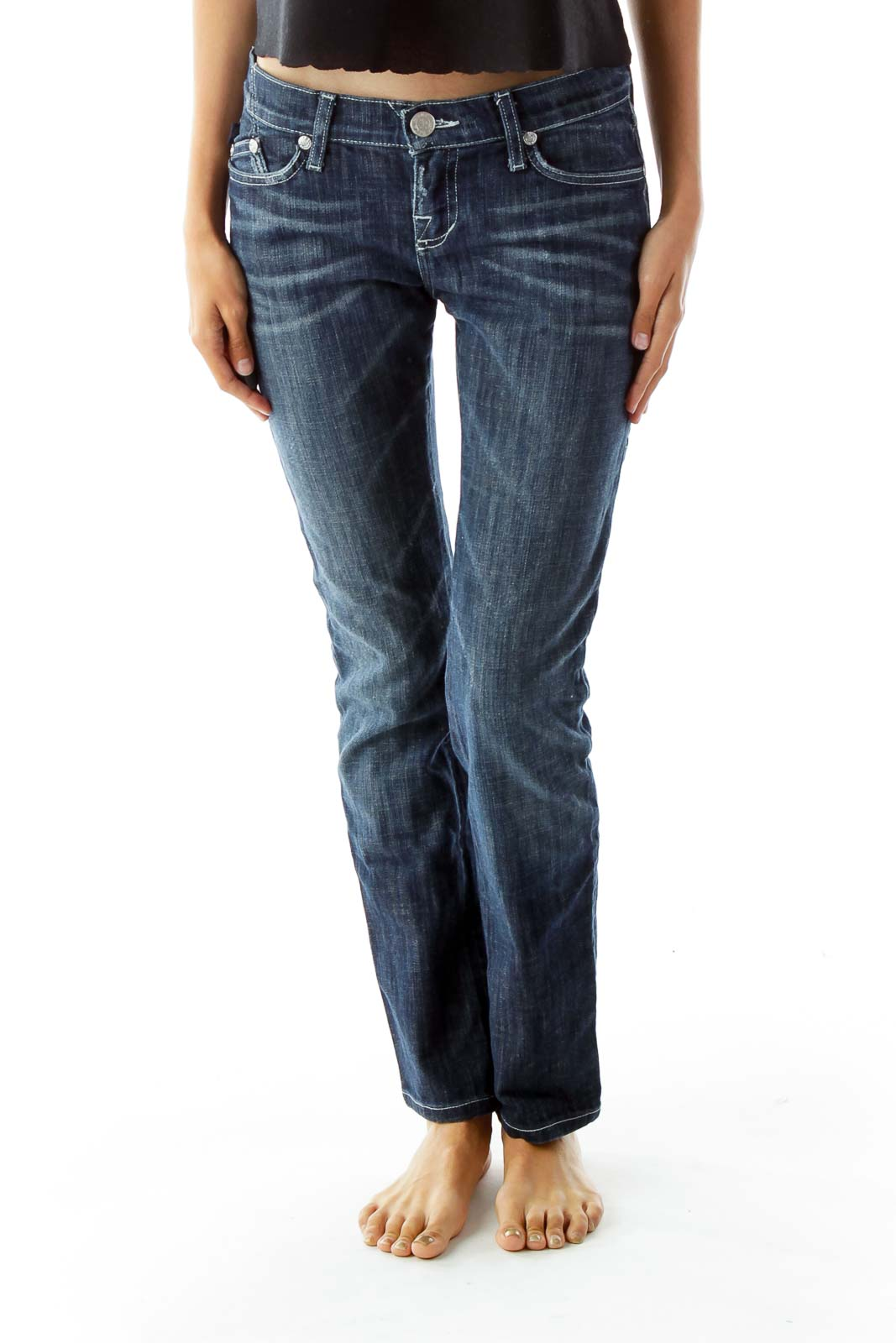 Blue Straight-Leg Faded Jeans Front