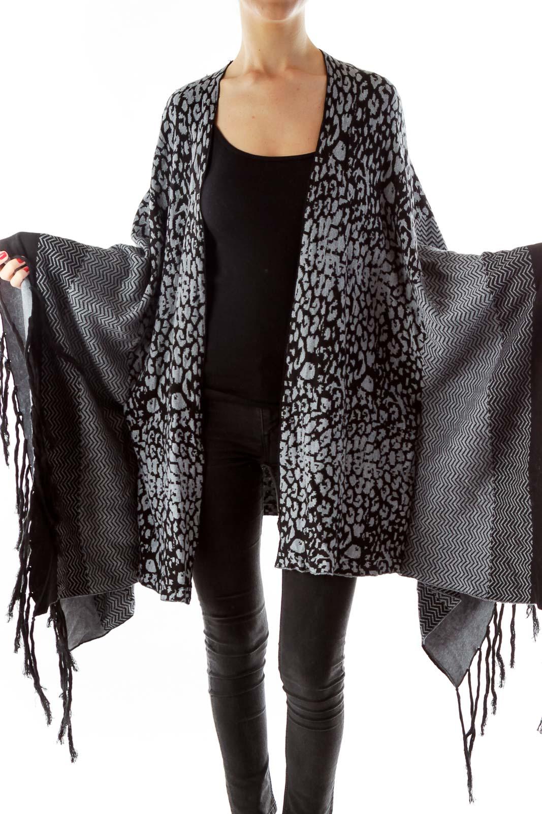 Black Gray Leopard Poncho Front