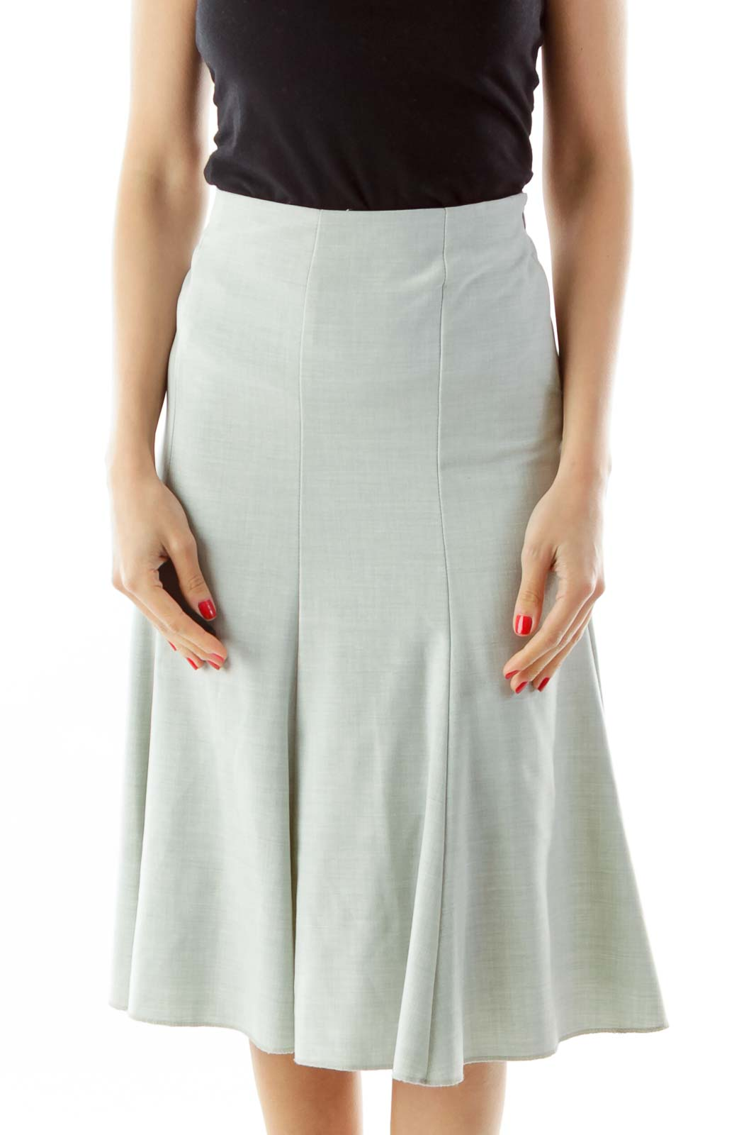 Gray Flared Midi Skirt Front